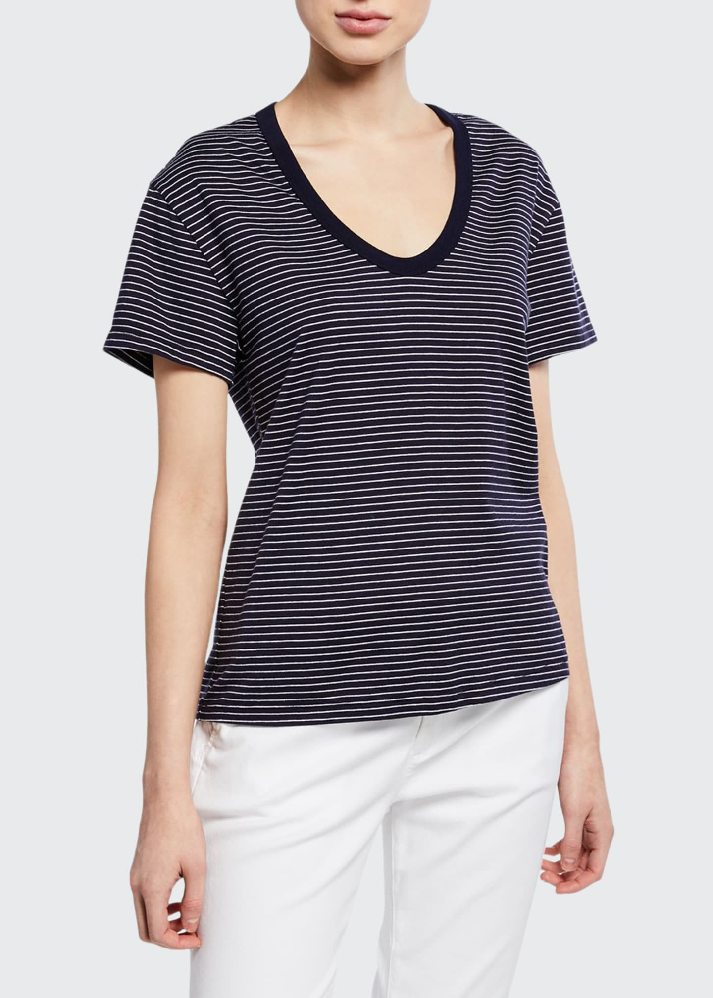 Image 1 of 2: Henson Striped Scoop-Neck Short-Sleeve T-Shirt