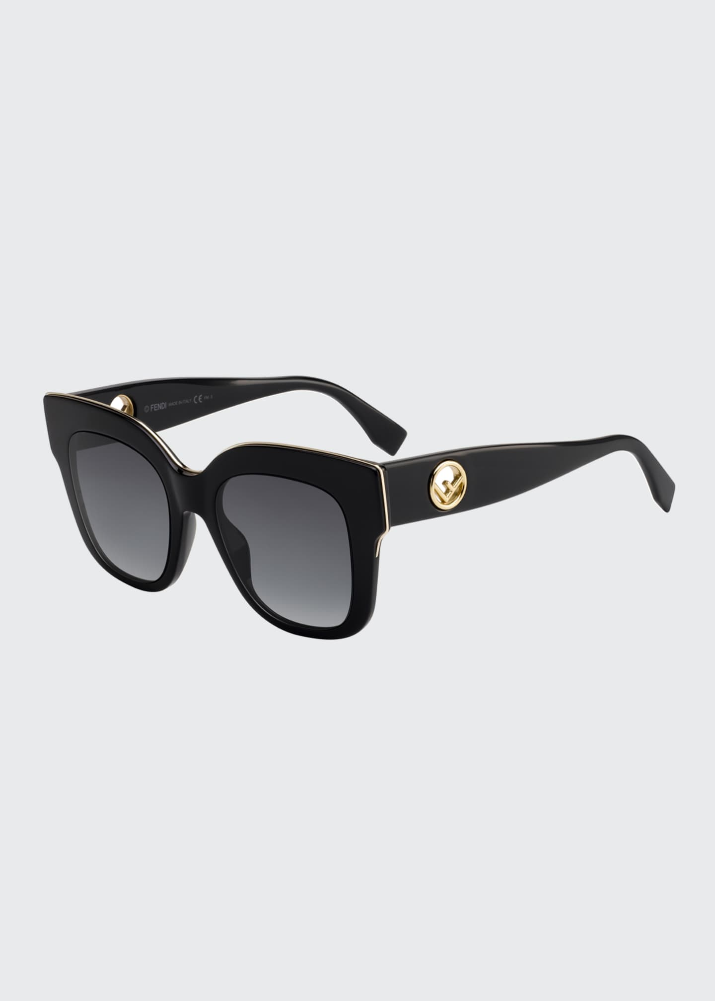 Image 1 of 1: Square Acetate Sunglasses w/ Inset Logo Temples