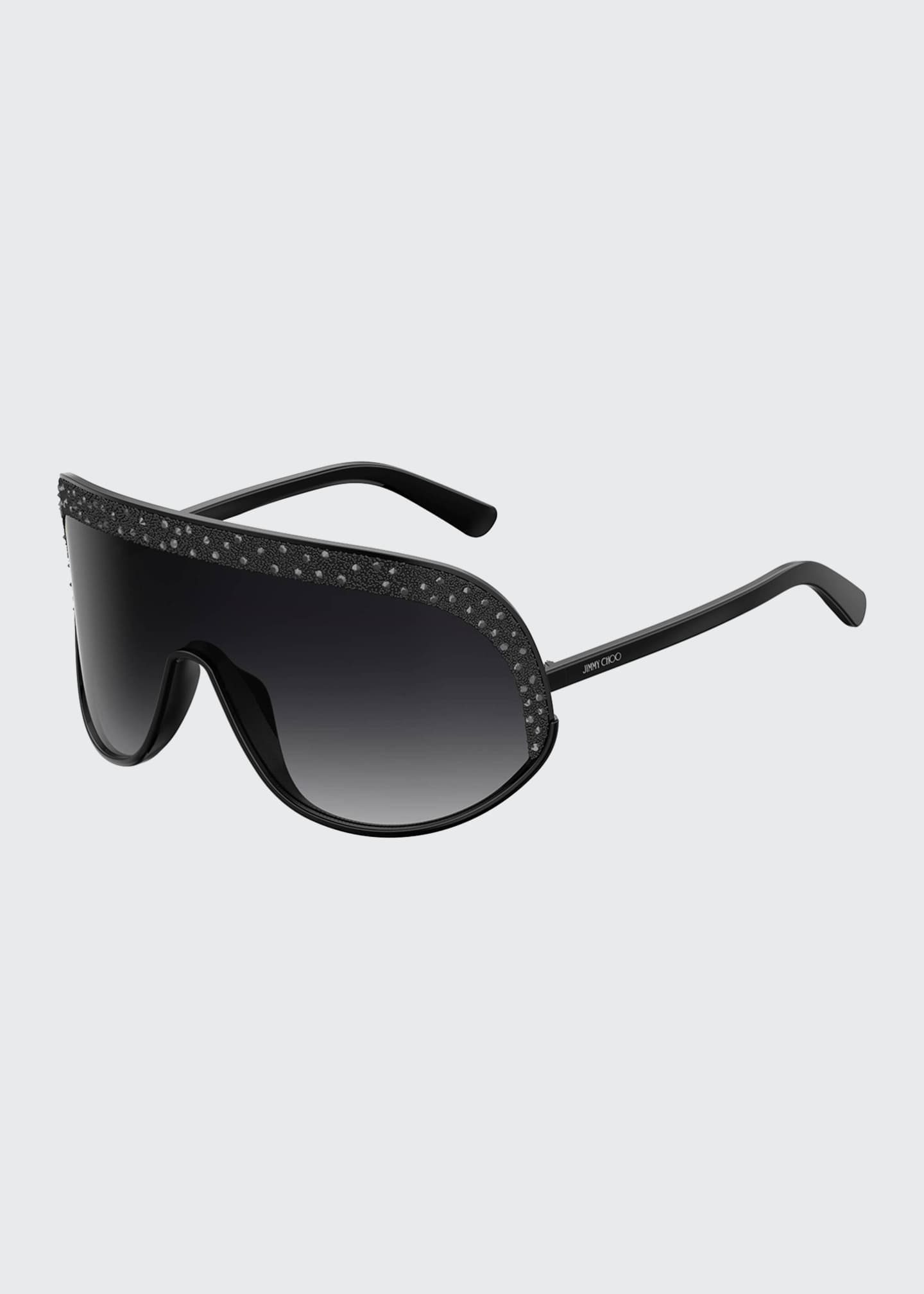 Jimmy Choo Siryns Wrap Shield Sunglasses w/ Crystal
