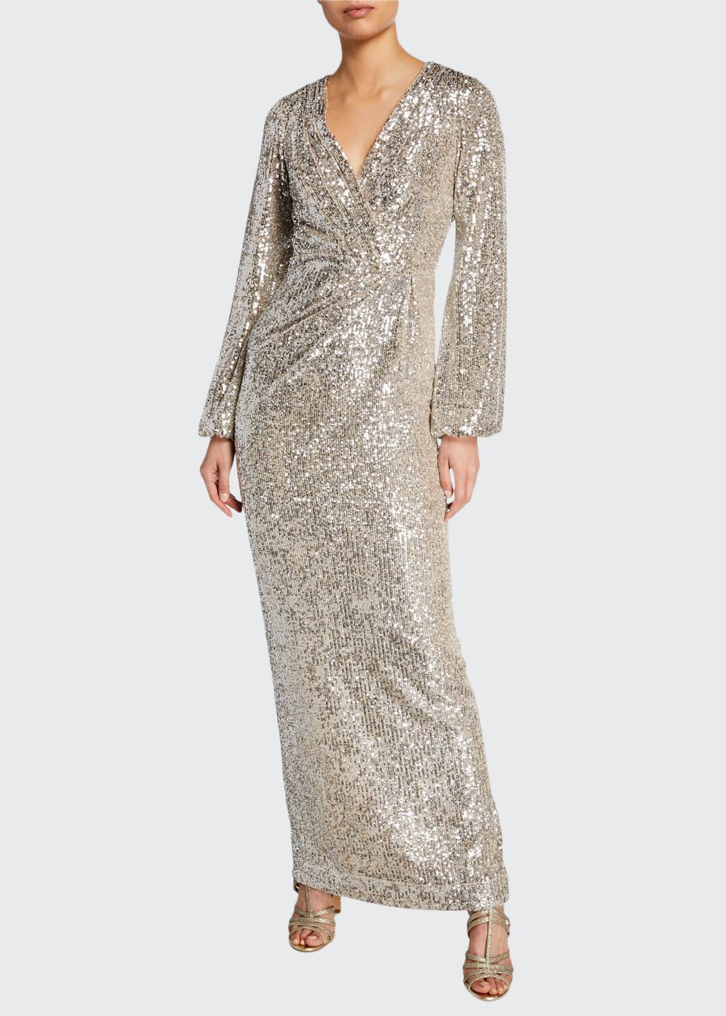 Image 1 of 2: Long-Sleeve Sequined V-Neck Gown