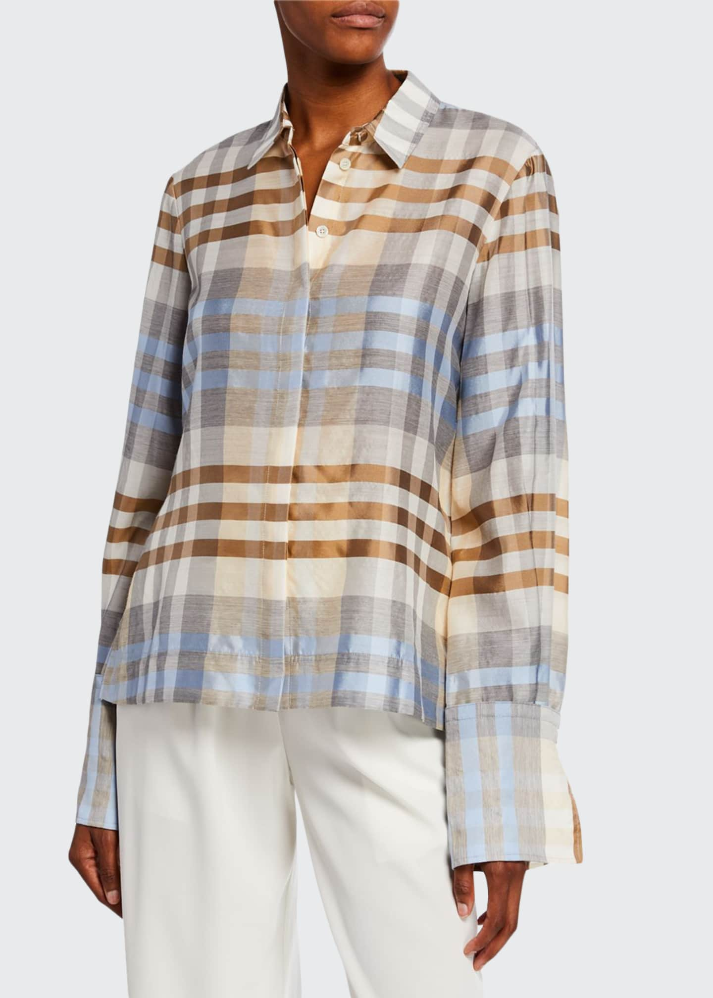 Image 1 of 2: Wool/Silk Plaid Button Front Shirt