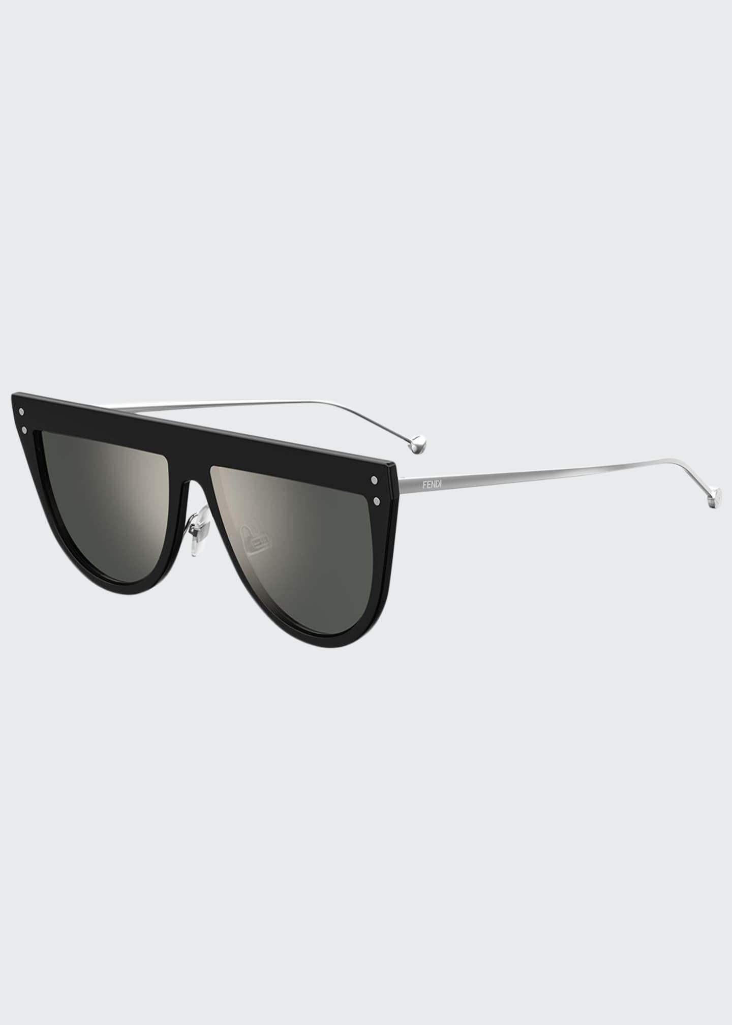 Fendi Flat-Top Mirrored Shield Sunglasses