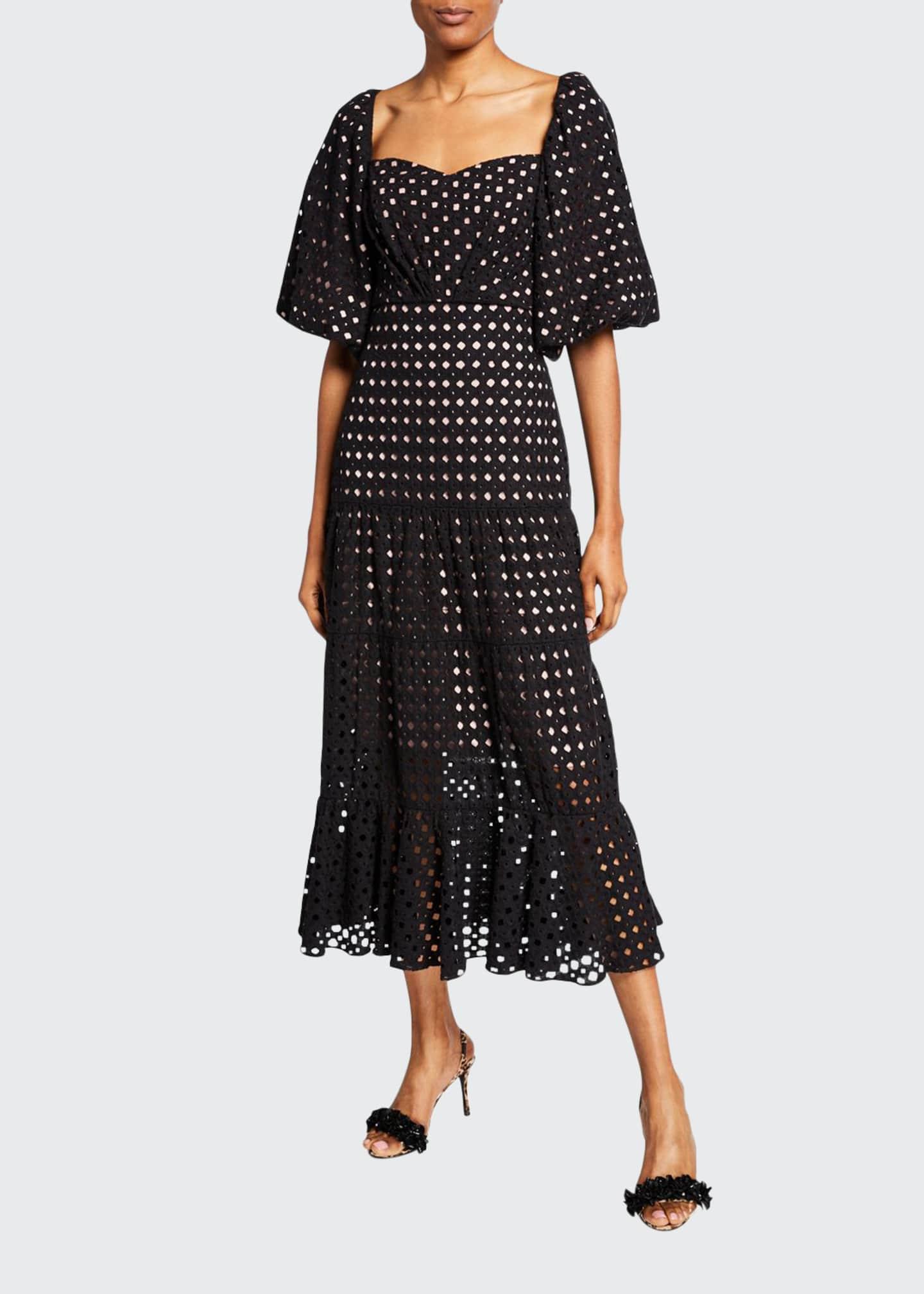 Johanna Ortiz Eyelet Embroidered Sweetheart-Neck Dress