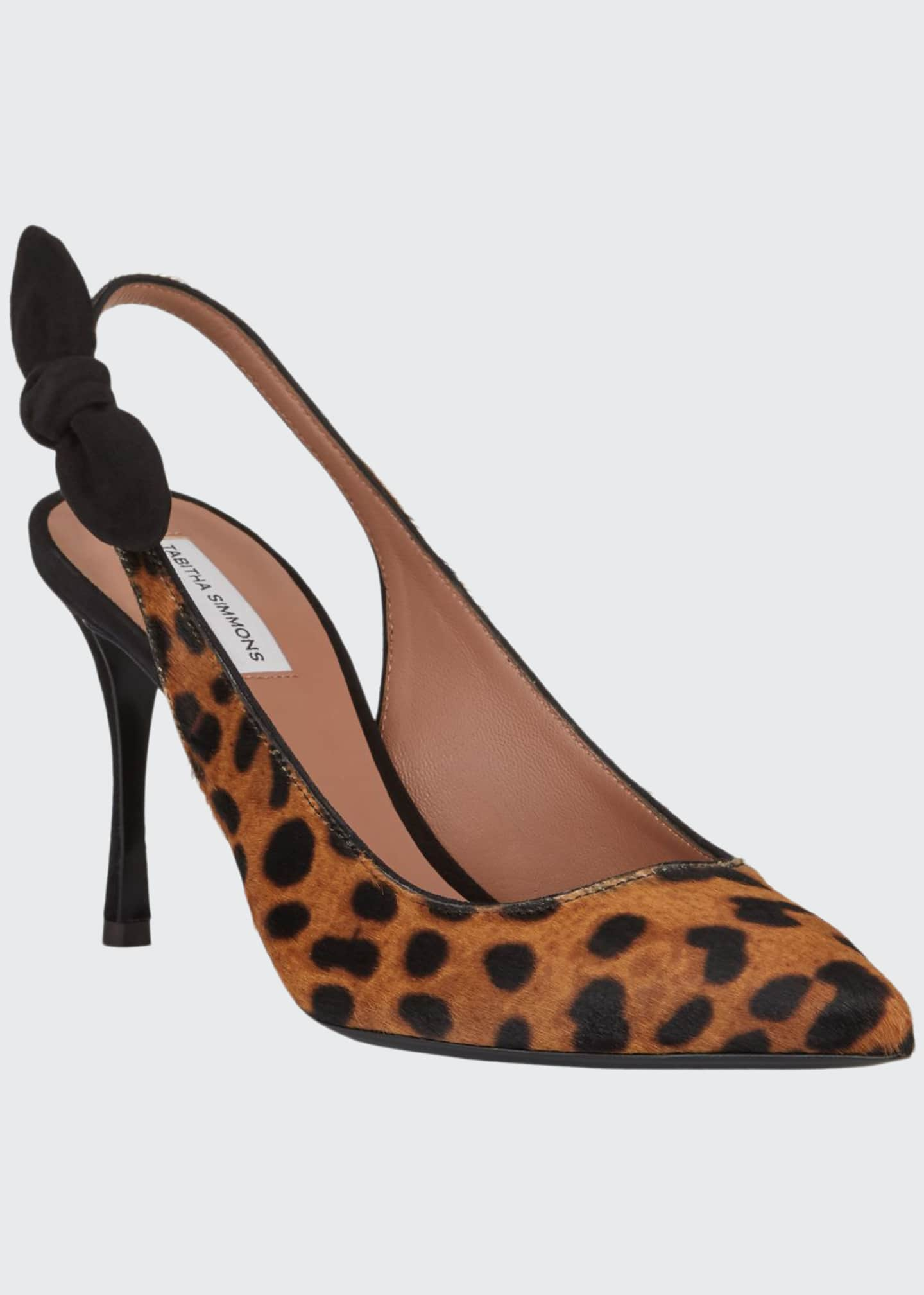 Image 1 of 3: Millie Leopard Calf Hair Slingback Pumps