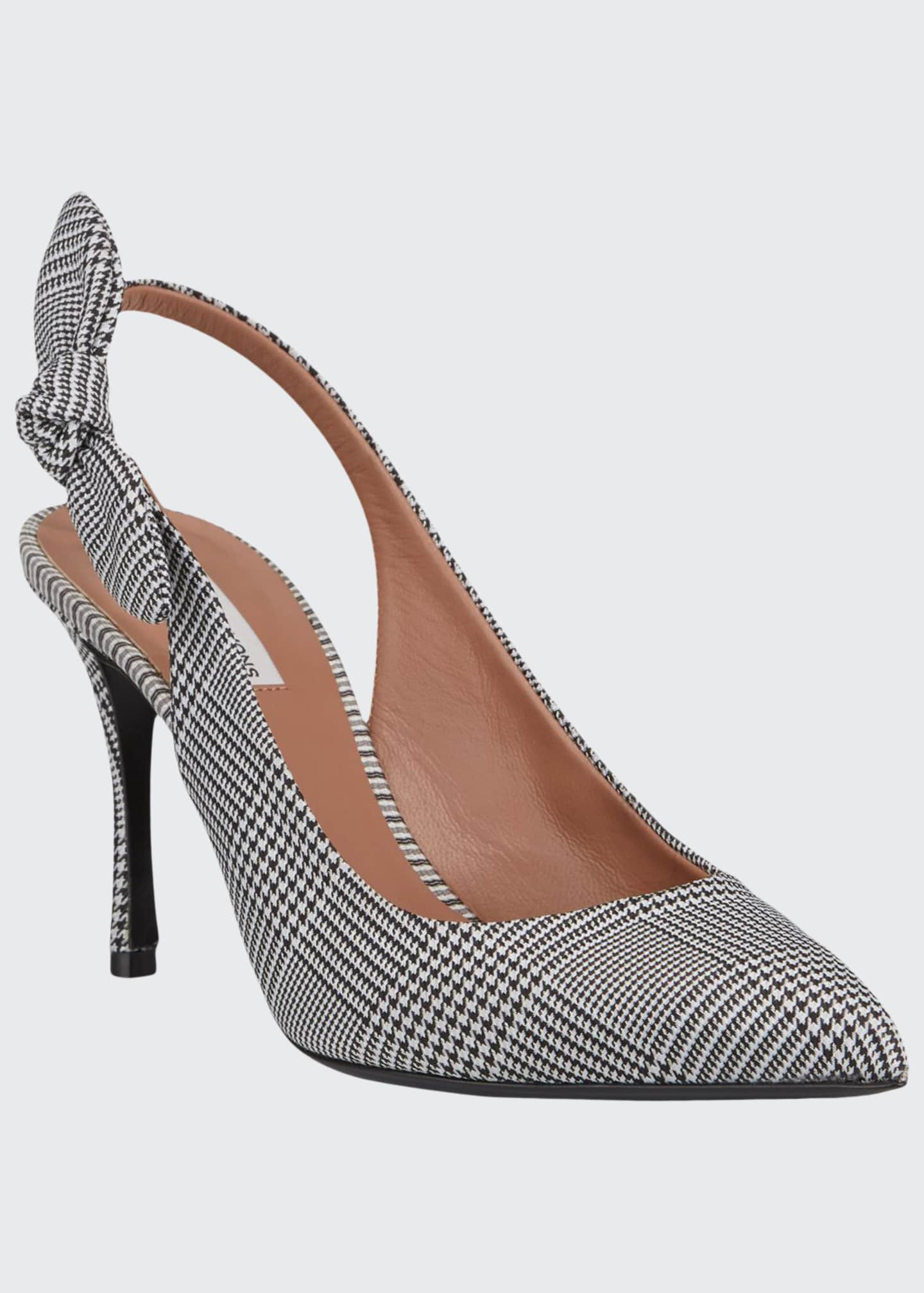 Image 1 of 3: Millie Houndstooth Slingback Bow Pumps