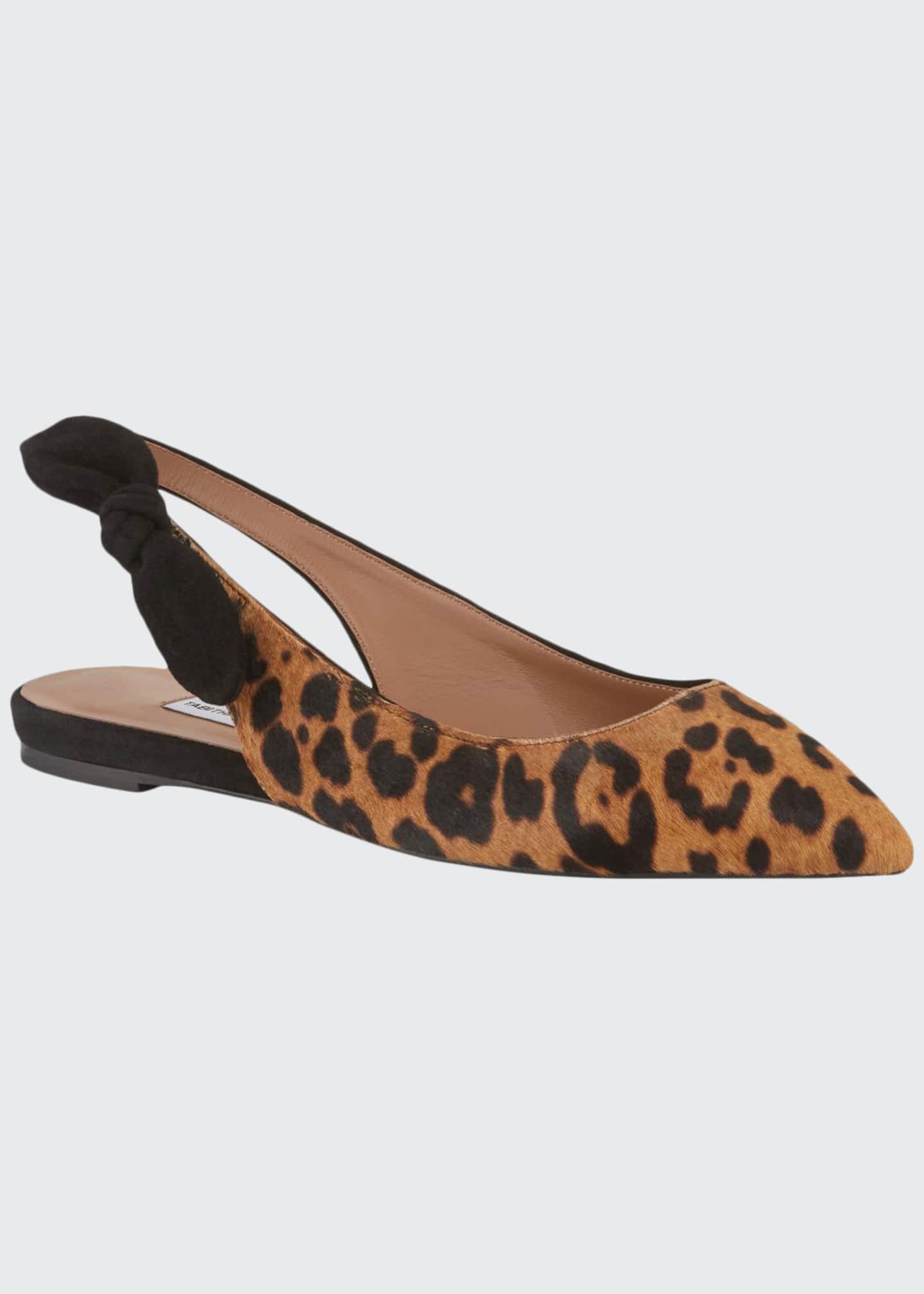 Tabitha Simmons Leopard-Print Calf Hair Slingback Flats