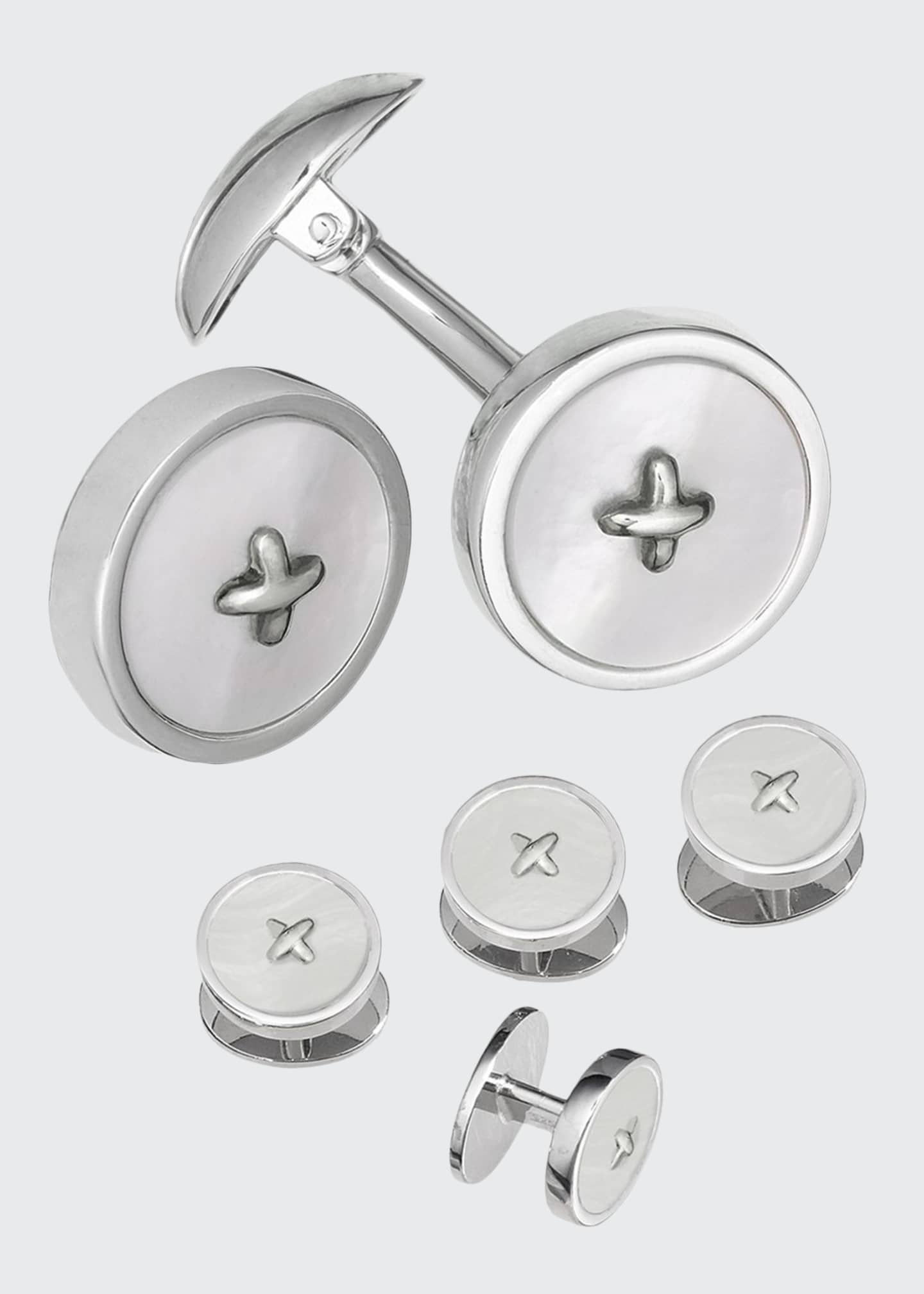 Image 1 of 1: Classic Button Mother-of-Pearl Cufflinks & Studs Set