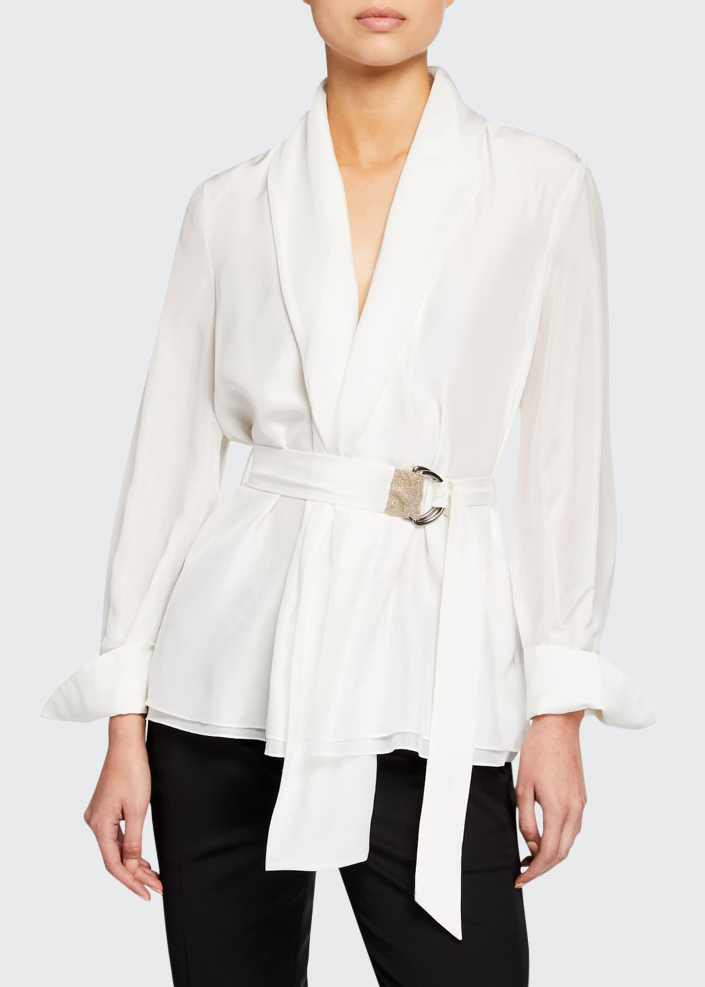 Brunello Cucinelli Long-Sleeve Monili-Belted Georgette Blouse