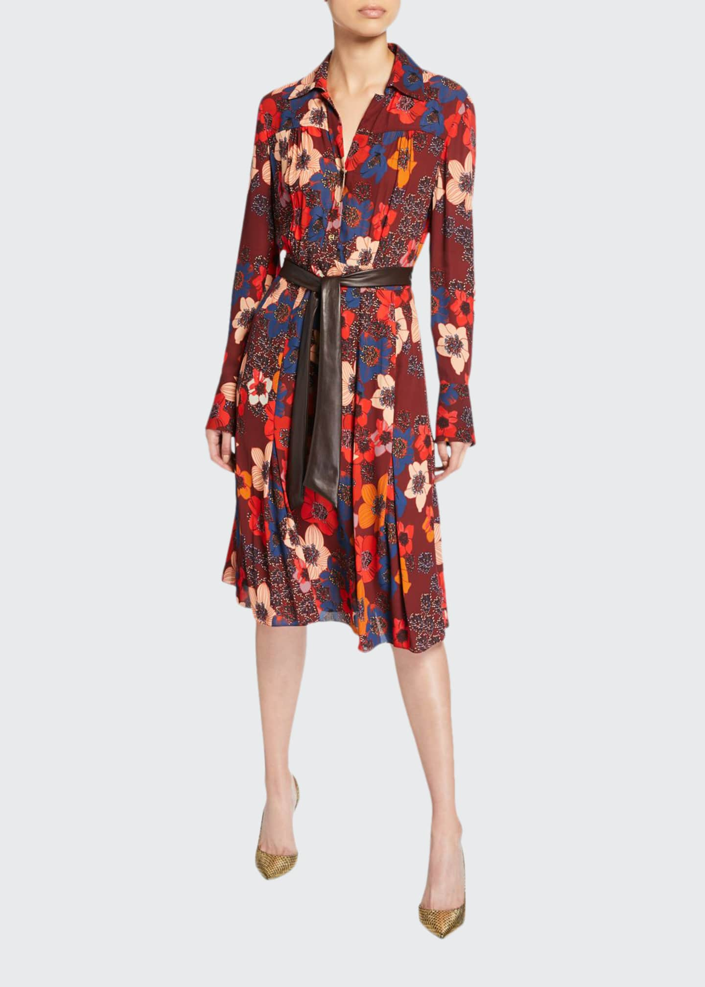 Elie Tahari Brinx Floral Long-Sleeve Dress w/ Faux