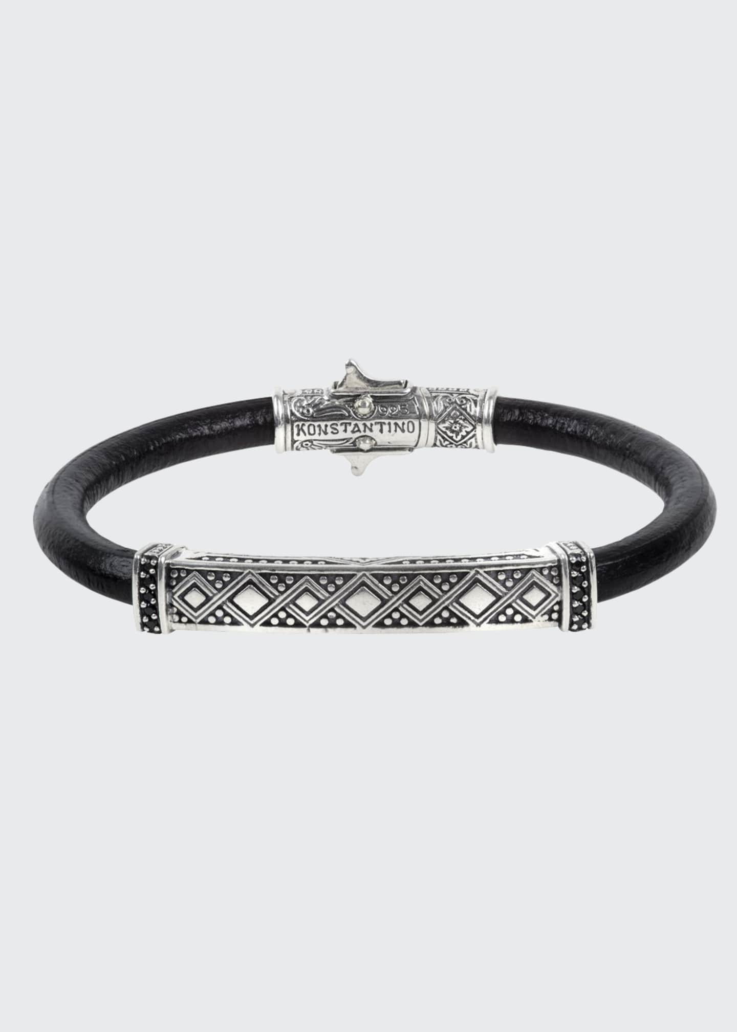 Image 1 of 1: Men's Spinel-Inlay Leather Bracelet