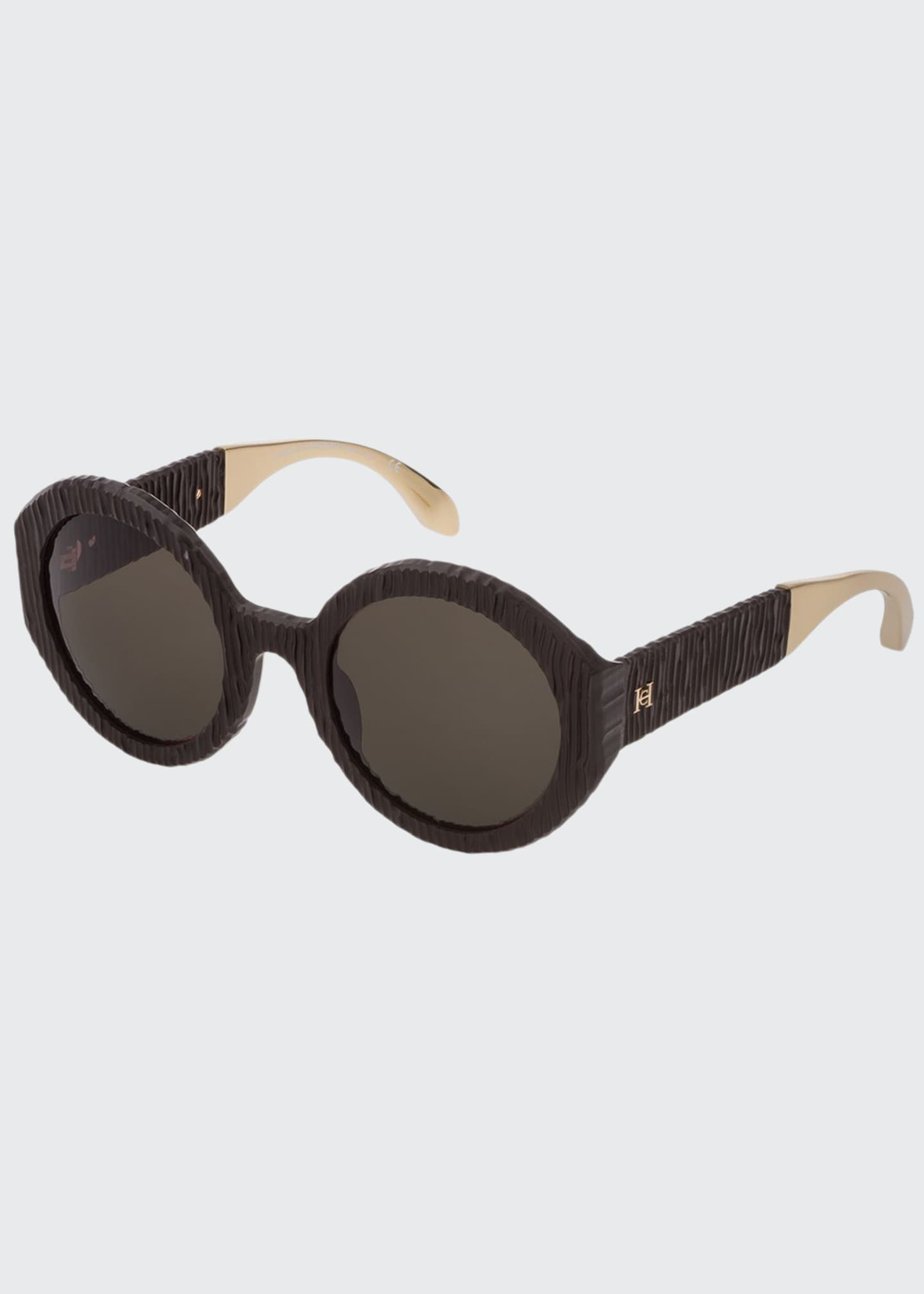 Image 1 of 1: Round Textured Acetate Sunglasses