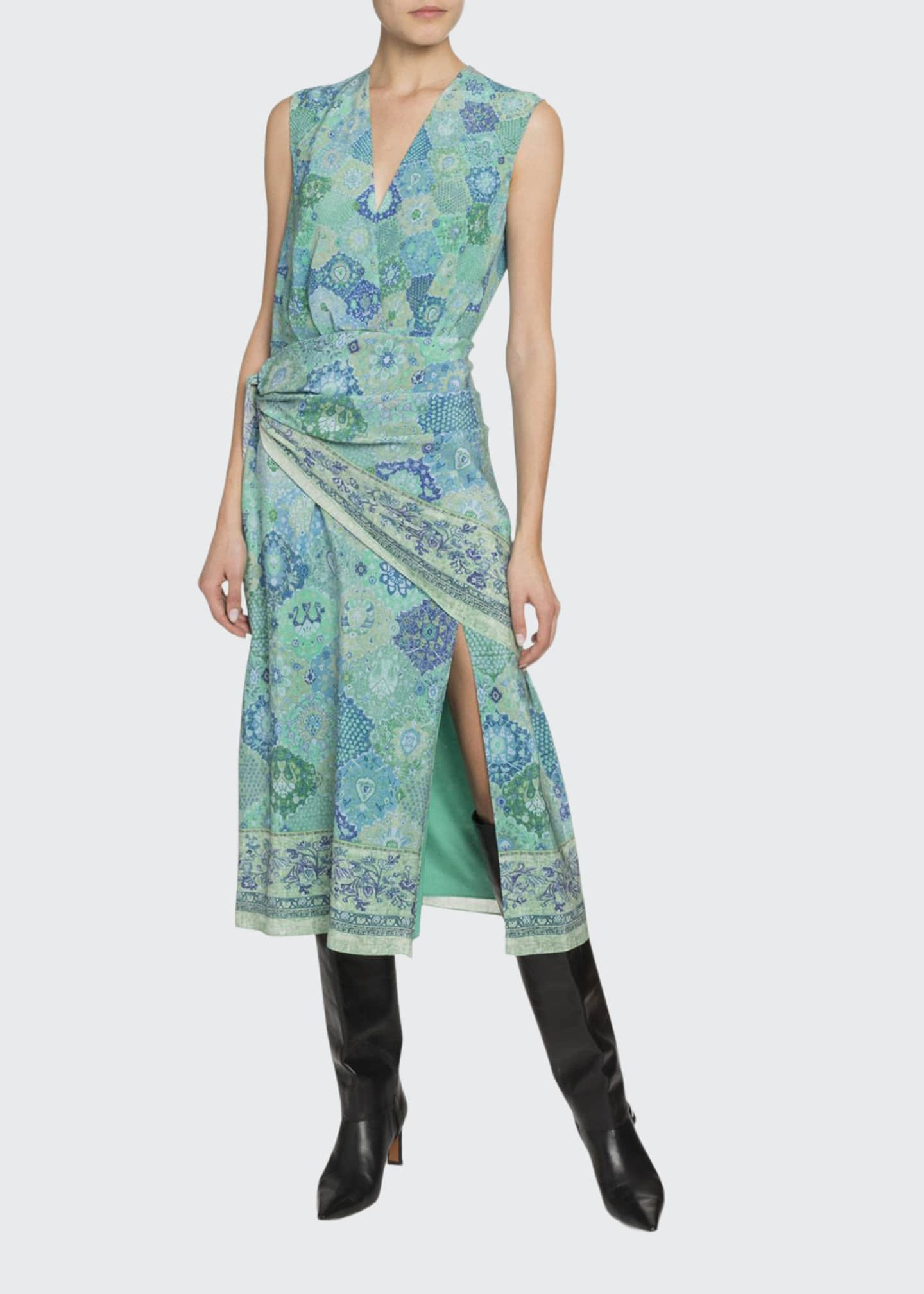 Altuzarra Gathered Bandana Print Silk Midi Dress