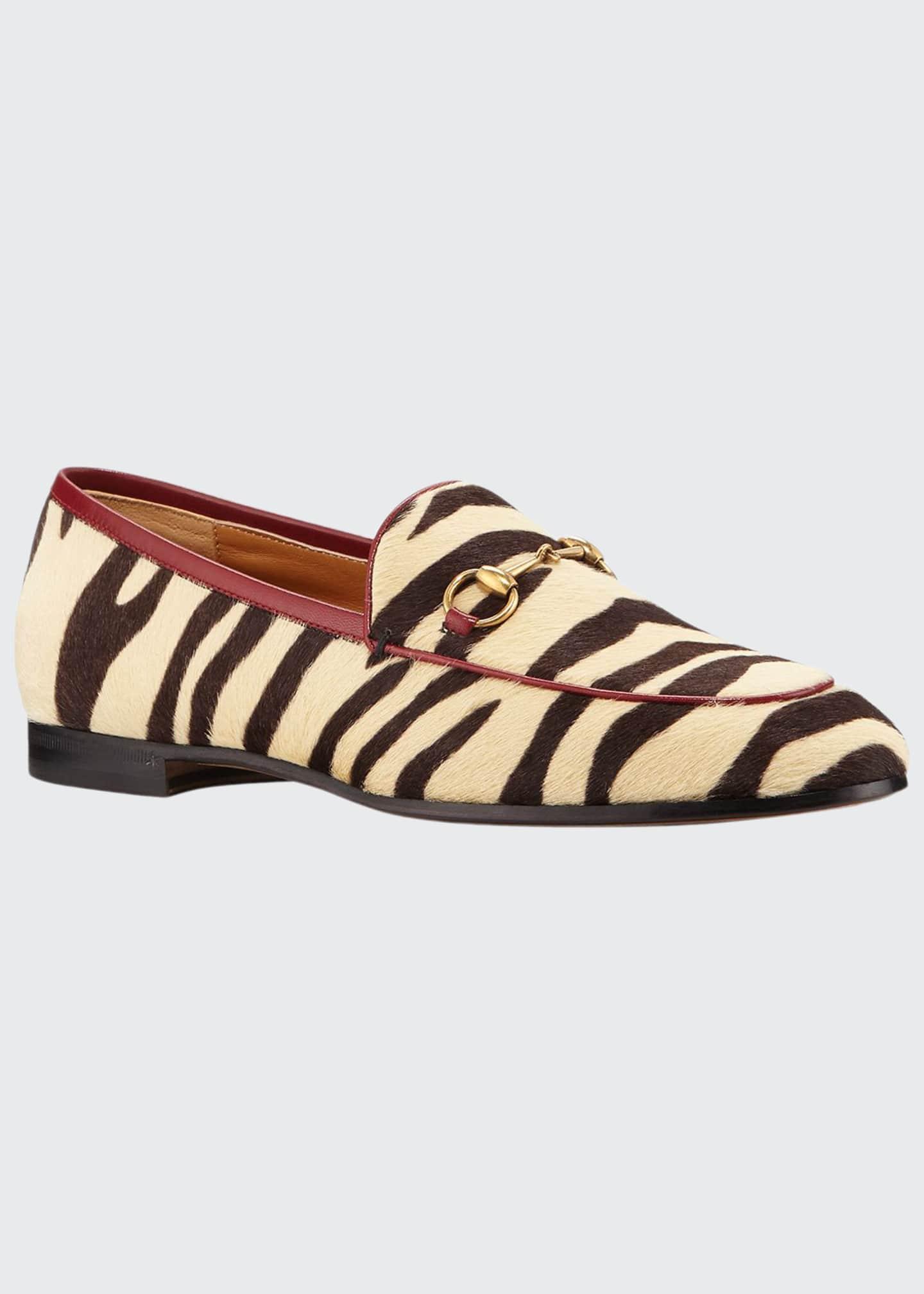 Gucci New Jordaan Zebra-Print Calf Hair Loafers