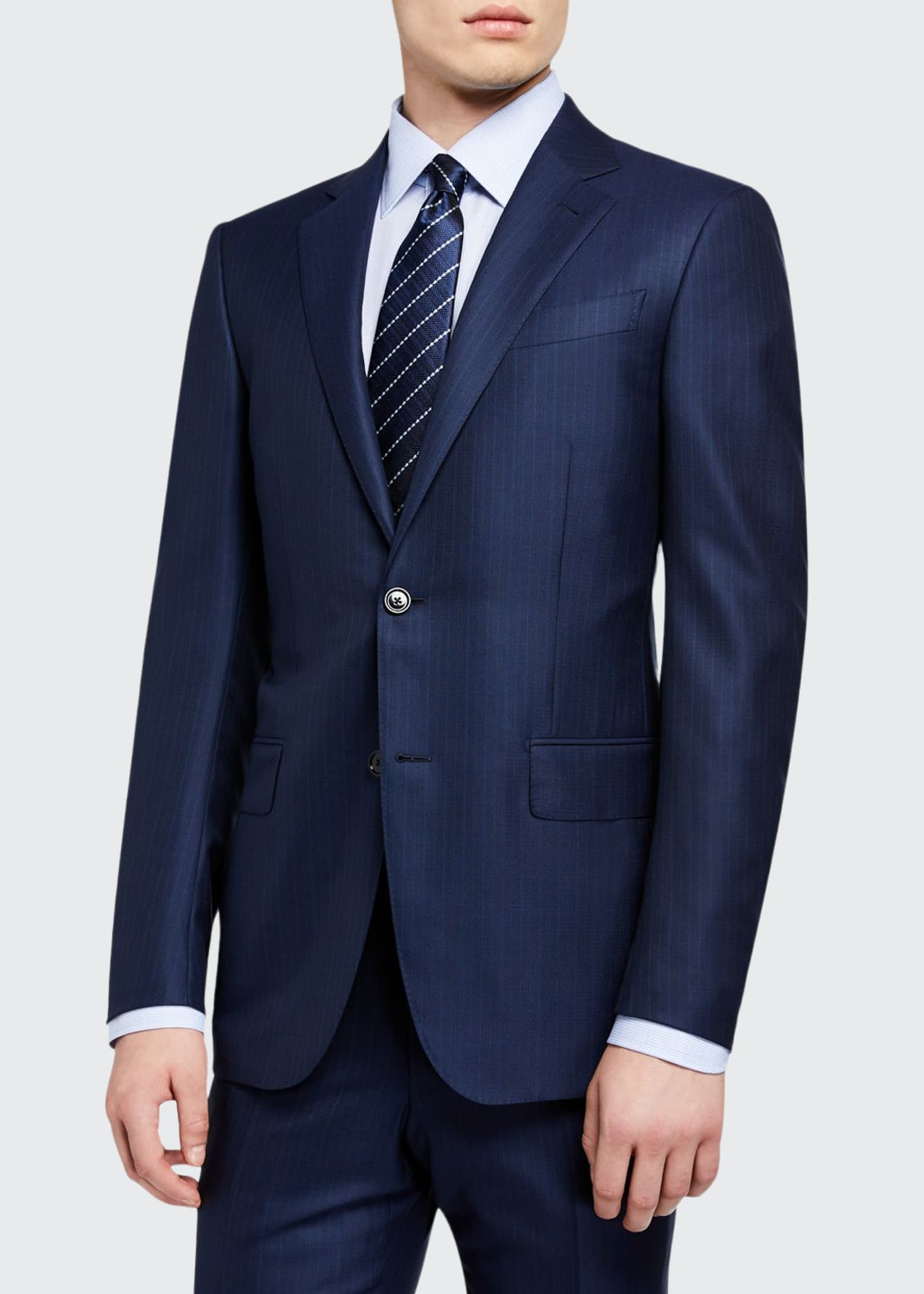 Image 1 of 4: Men's Regular-Fit Textured Stripe Two-Piece Suit