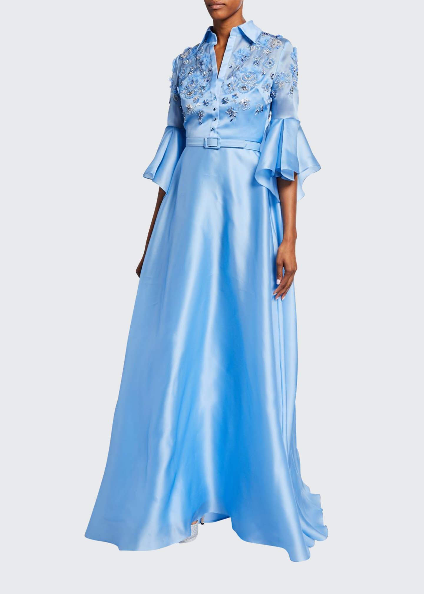 Badgley Mischka Couture Embellished Silk Shirtdress