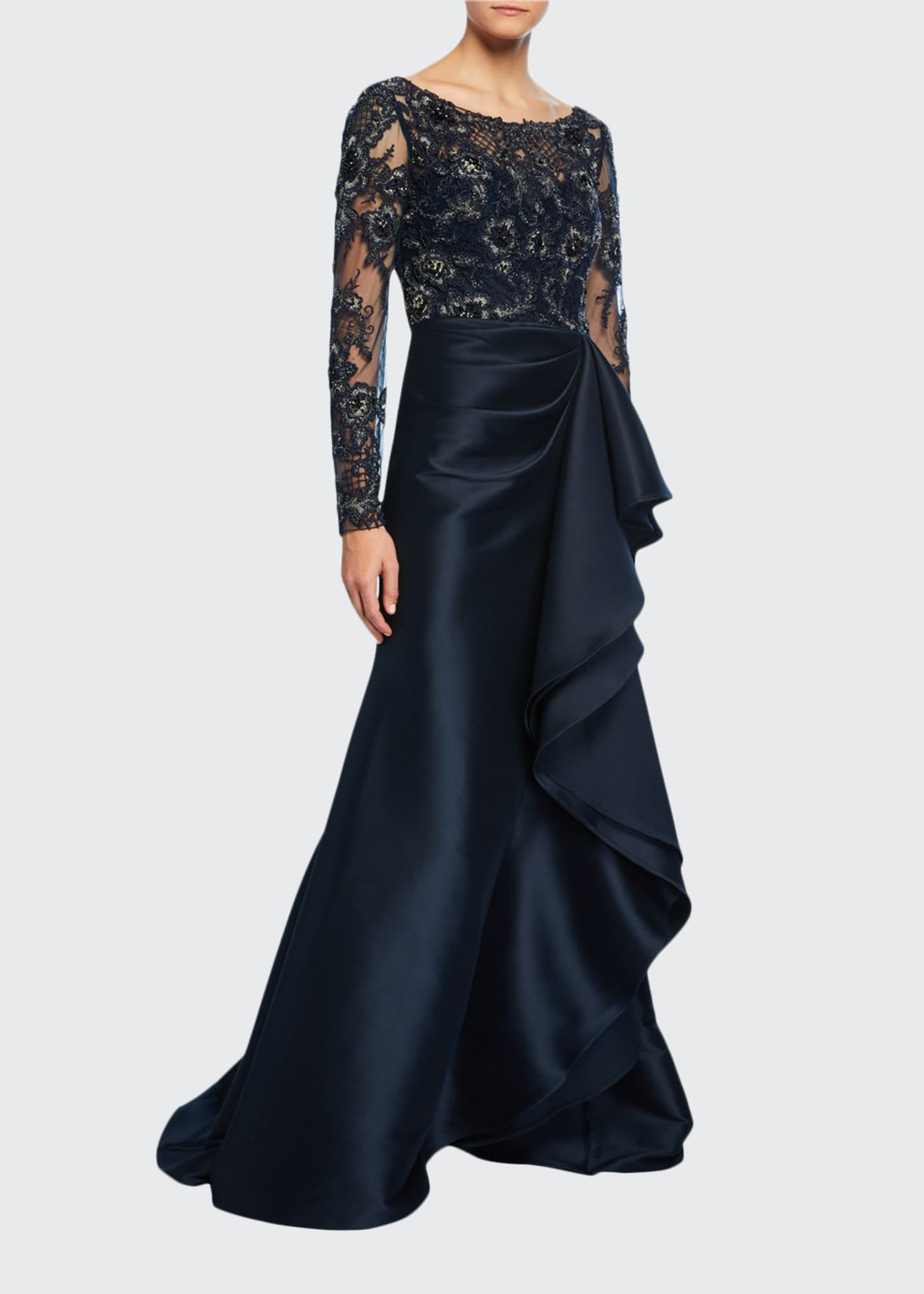 Badgley Mischka Couture Lace Bodice Keyhole-Back Gown