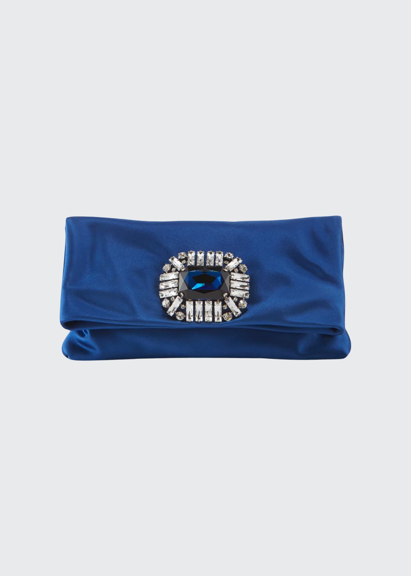 Jimmy Choo Titania Jeweled Satin Clutch Bag, Blue