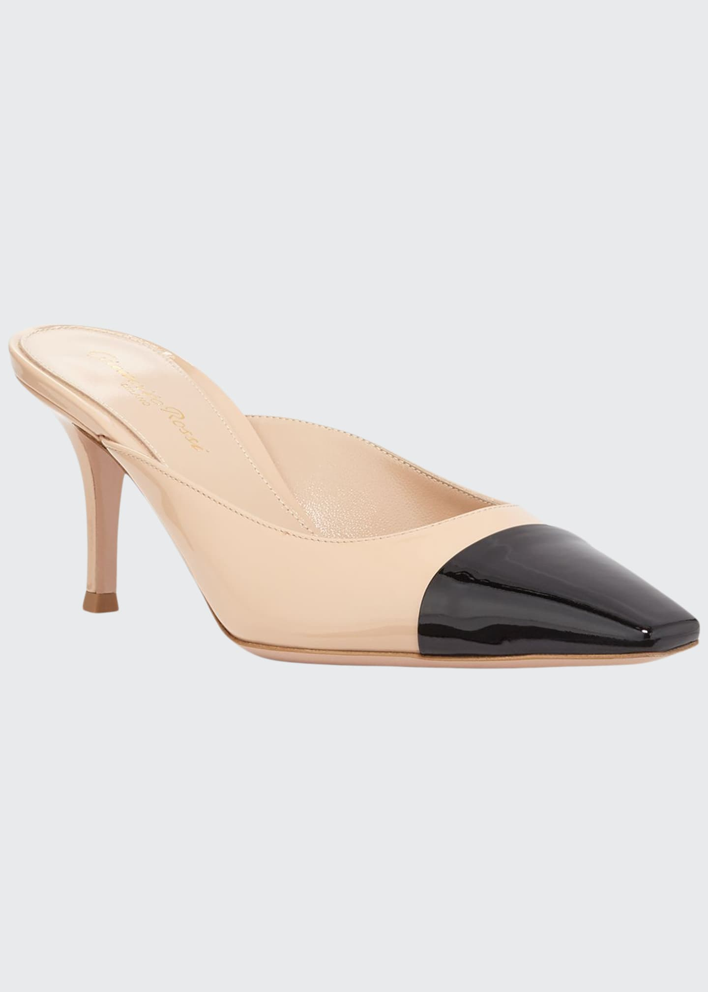 Gianvito Rossi Patent Leather Cap-Toe Mules