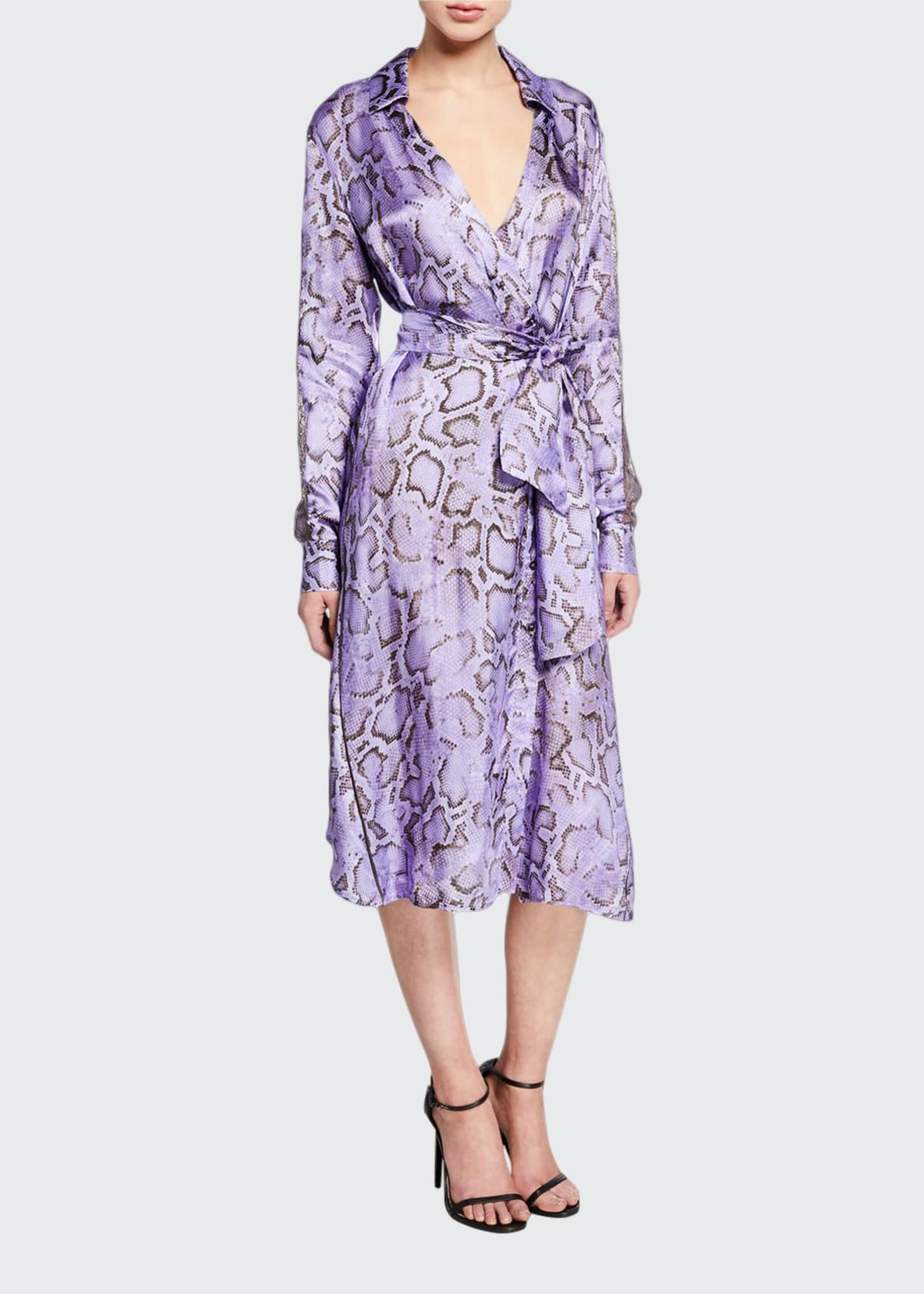 Image 1 of 2: Amalia Snake-Print Wrap Dress