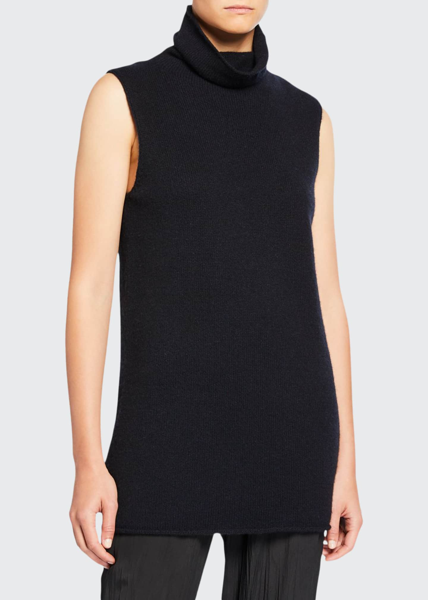 Image 1 of 2: Sleeveless Ribbed Funnel-Neck Cashmere Top