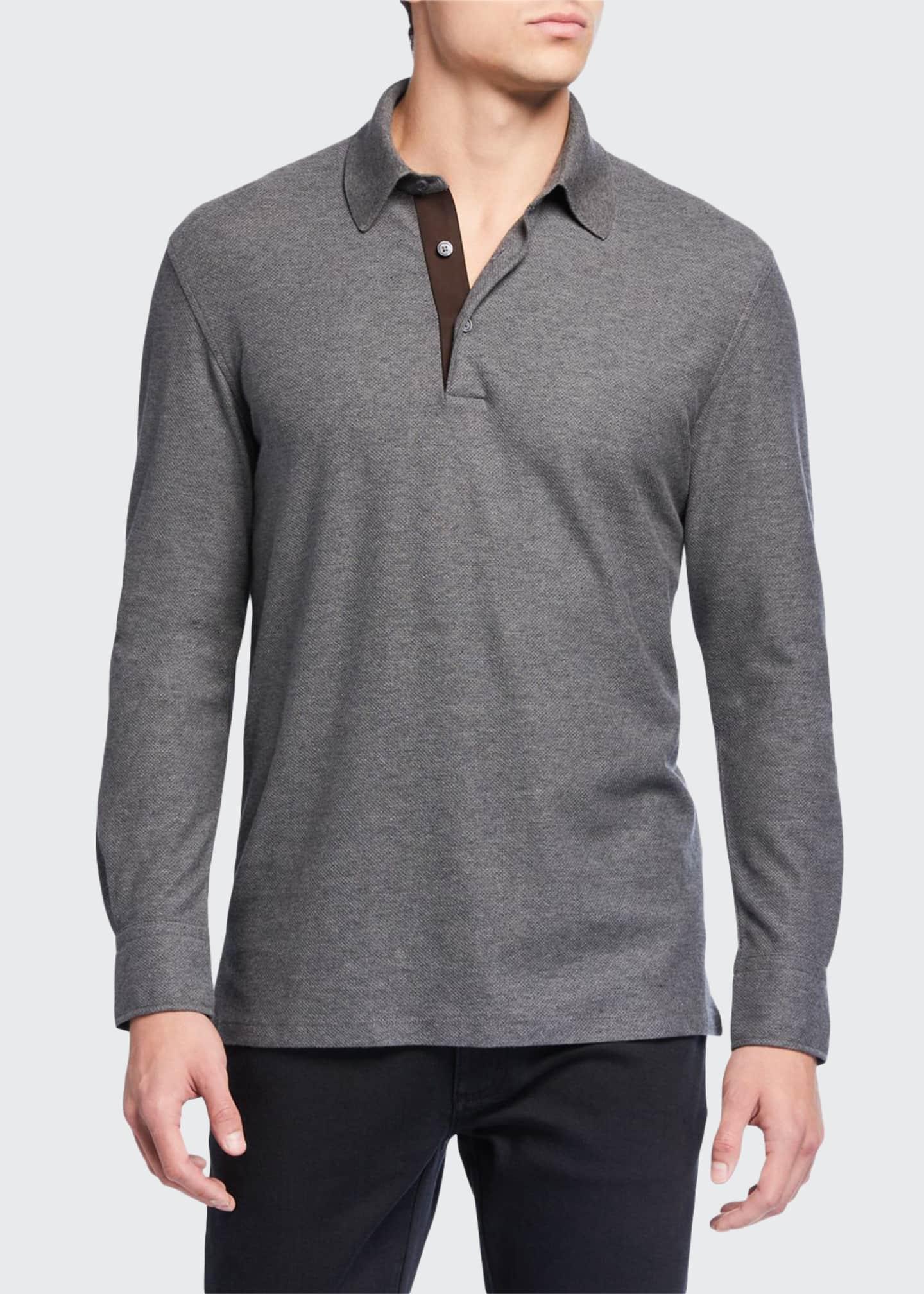 Ermenegildo Zegna Men's Cotton-Cashmere Polo Shirt w/ Leather