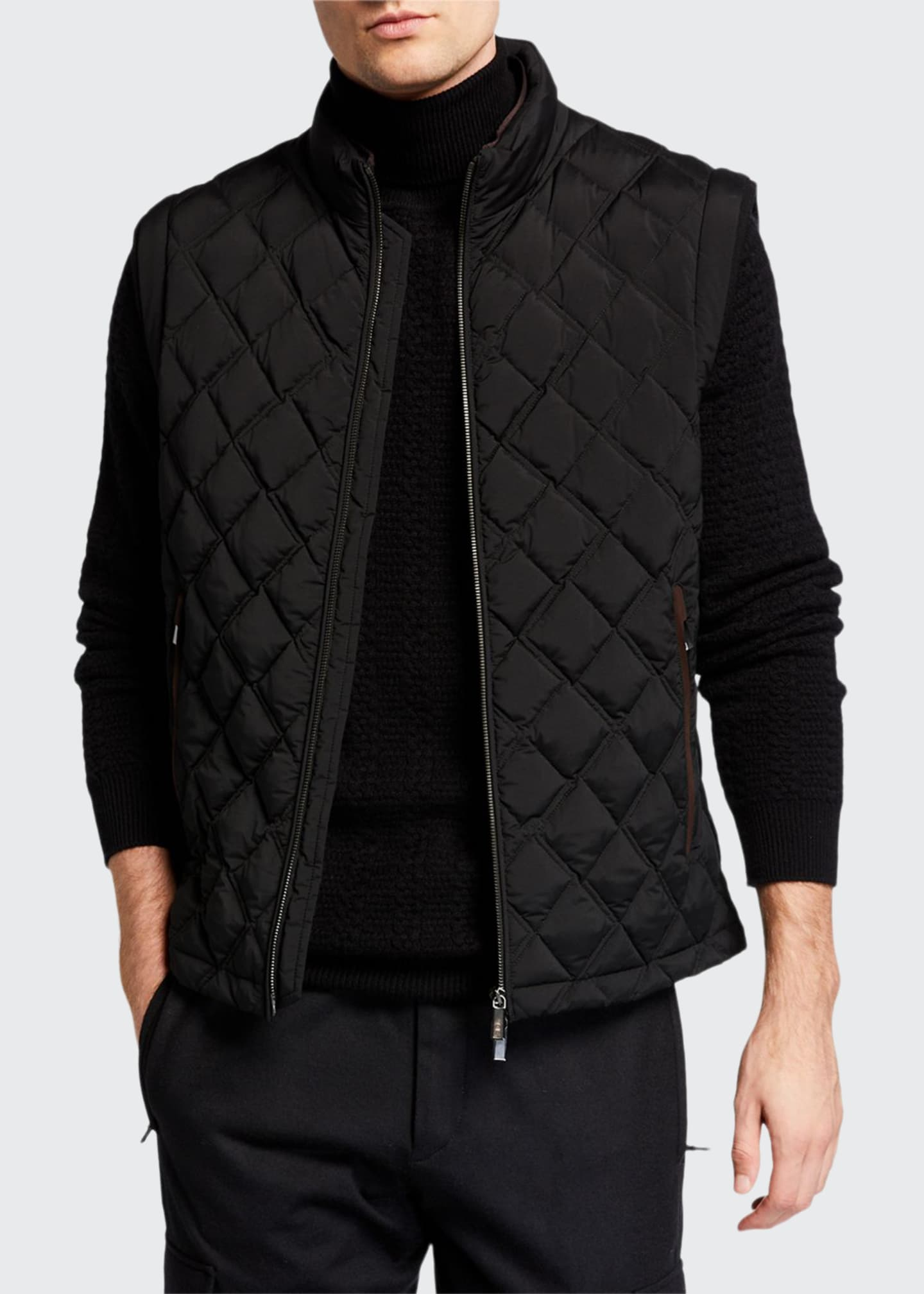 Ermenegildo Zegna Men's Quilted Vest with Leather Trim