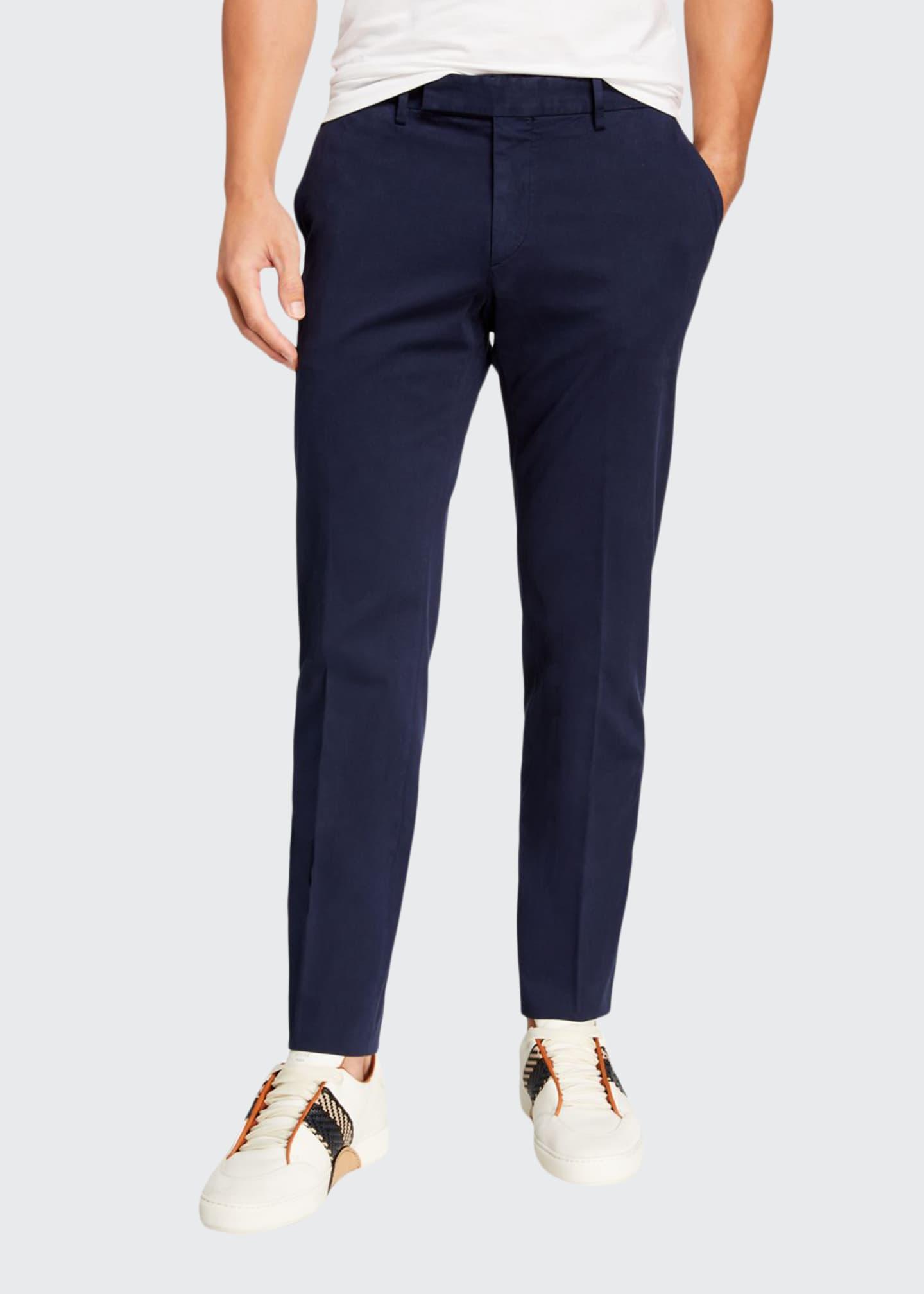 Ermenegildo Zegna Men's Garment-Dyed Tab Twill Pants, Navy