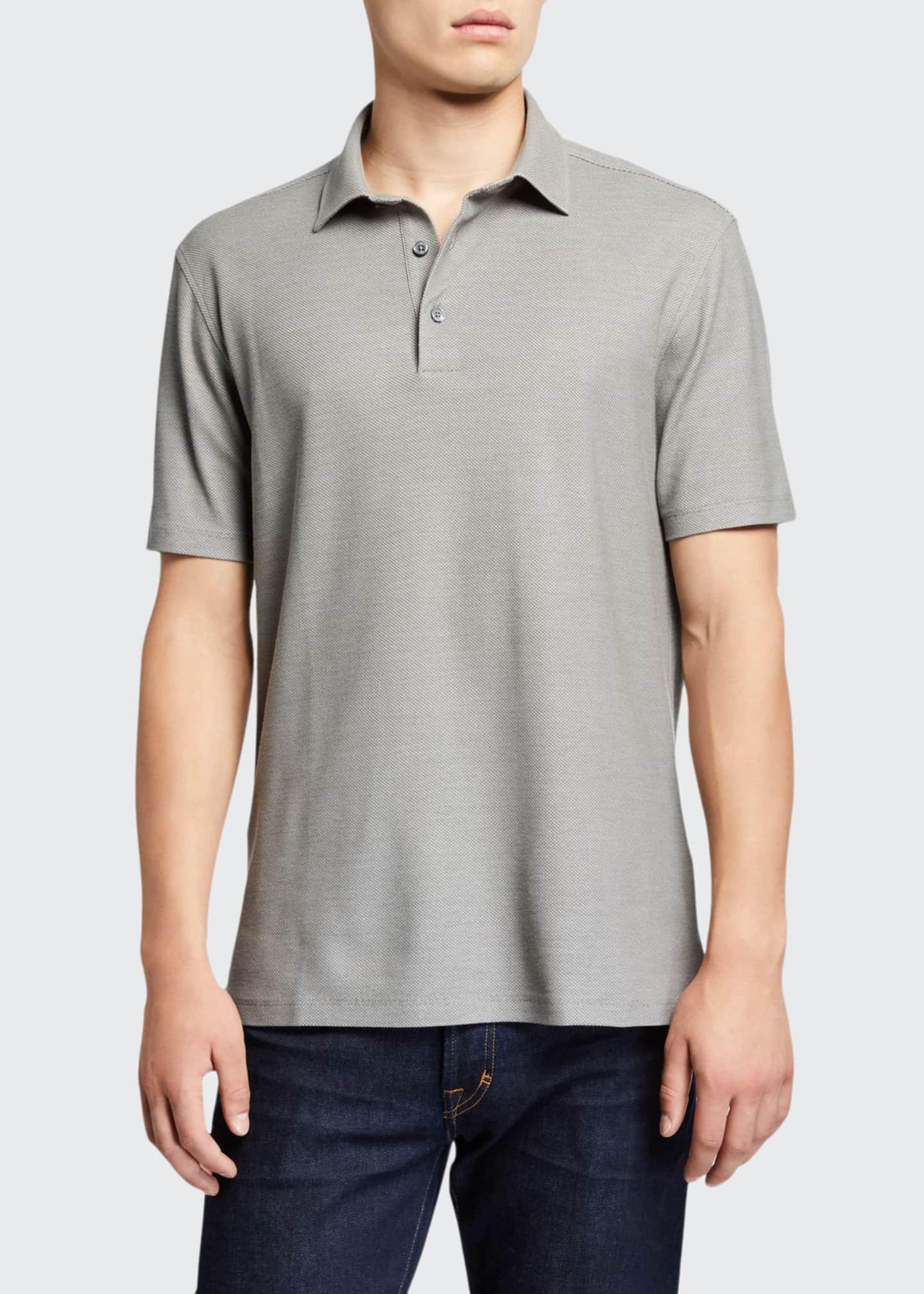 Ermenegildo Zegna Men's Solid Birdseye Cotton-Silk Polo Shirt