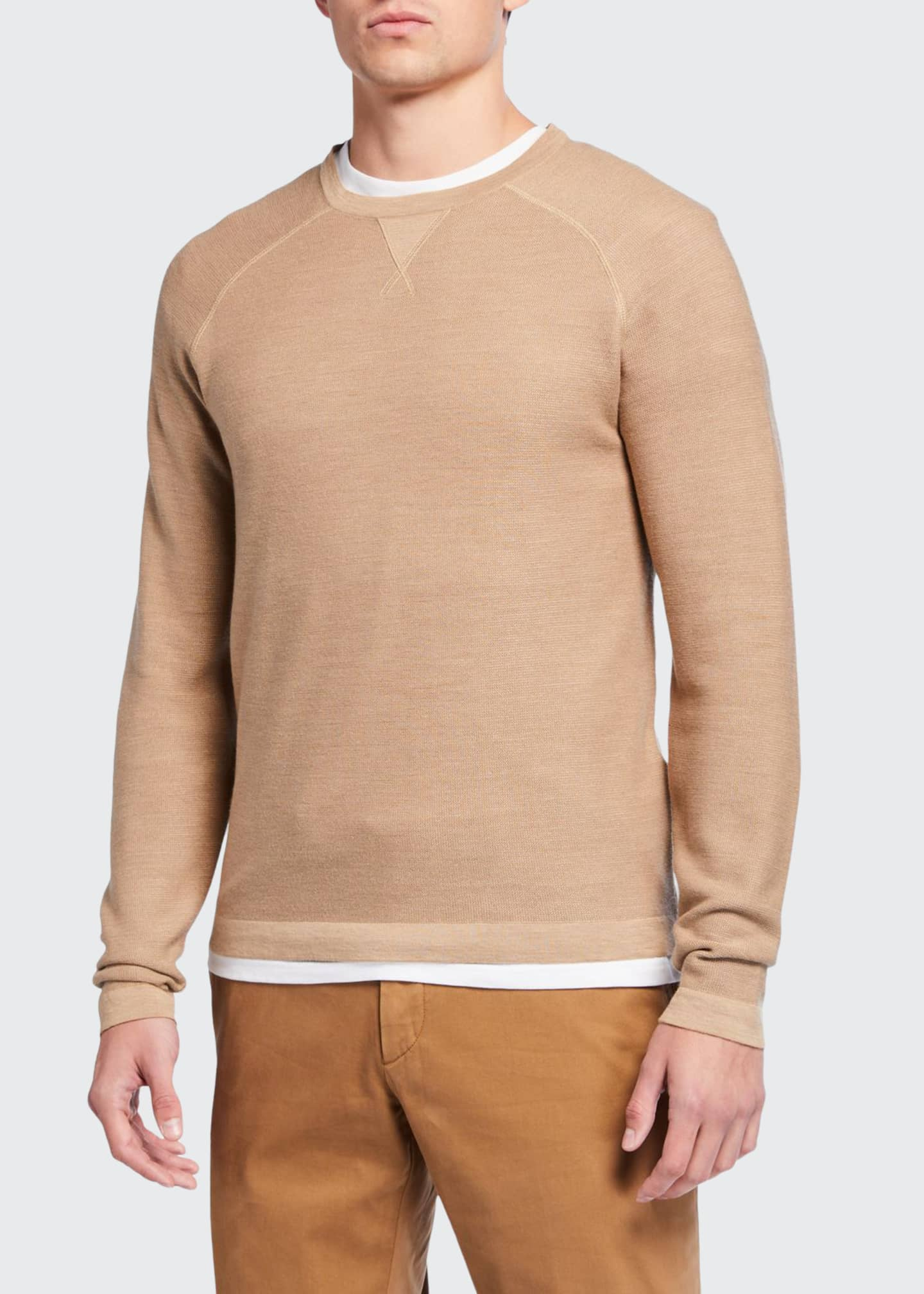 Ermenegildo Zegna Men's Solid Silk-Cotton Crewneck Sweater