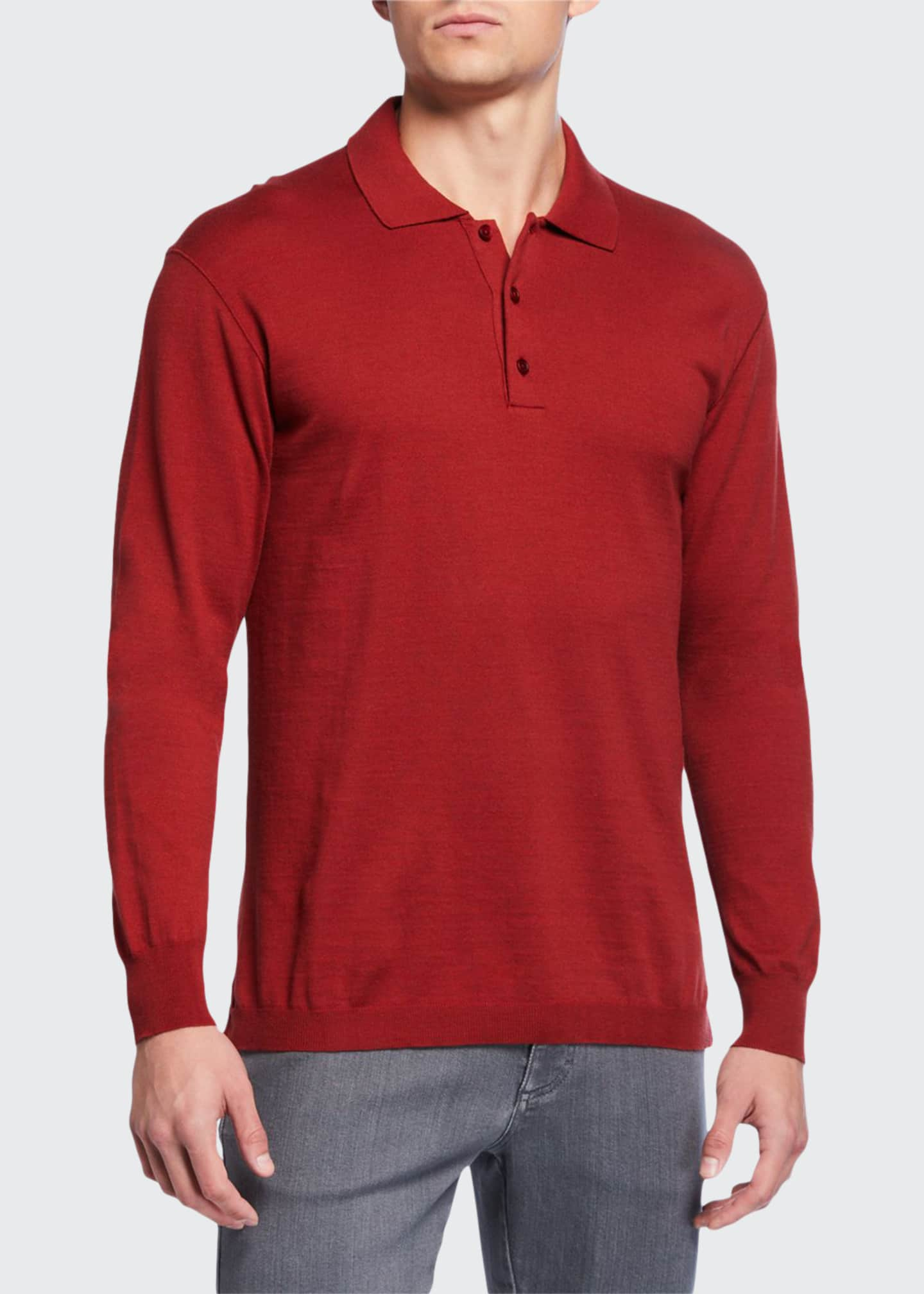 Ermenegildo Zegna Men's Long-Sleeve Jersey Polo Shirt
