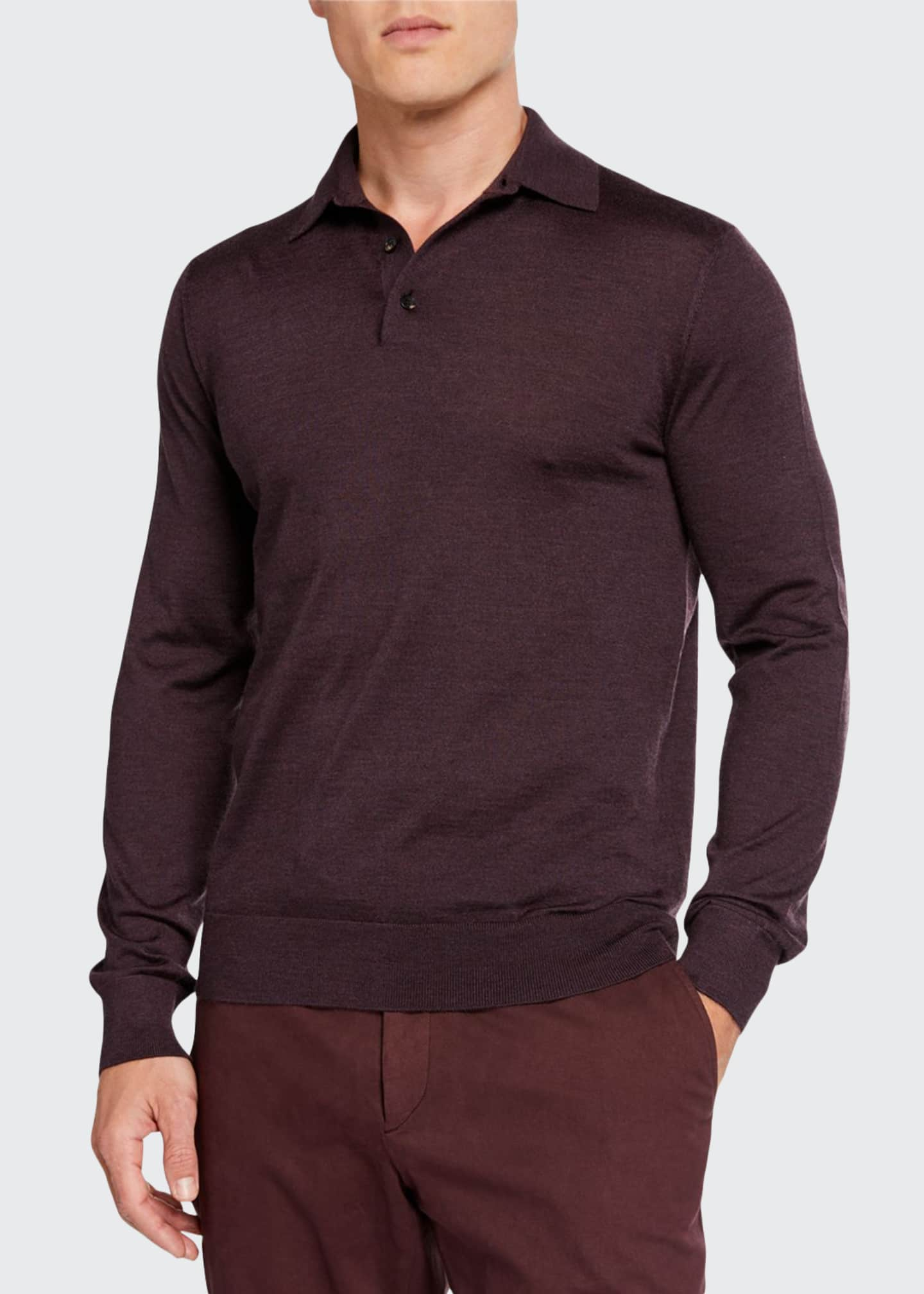 Image 1 of 2: Men's Cashmere-Blend Long-Sleeve Regular-Fit Polo Shirt