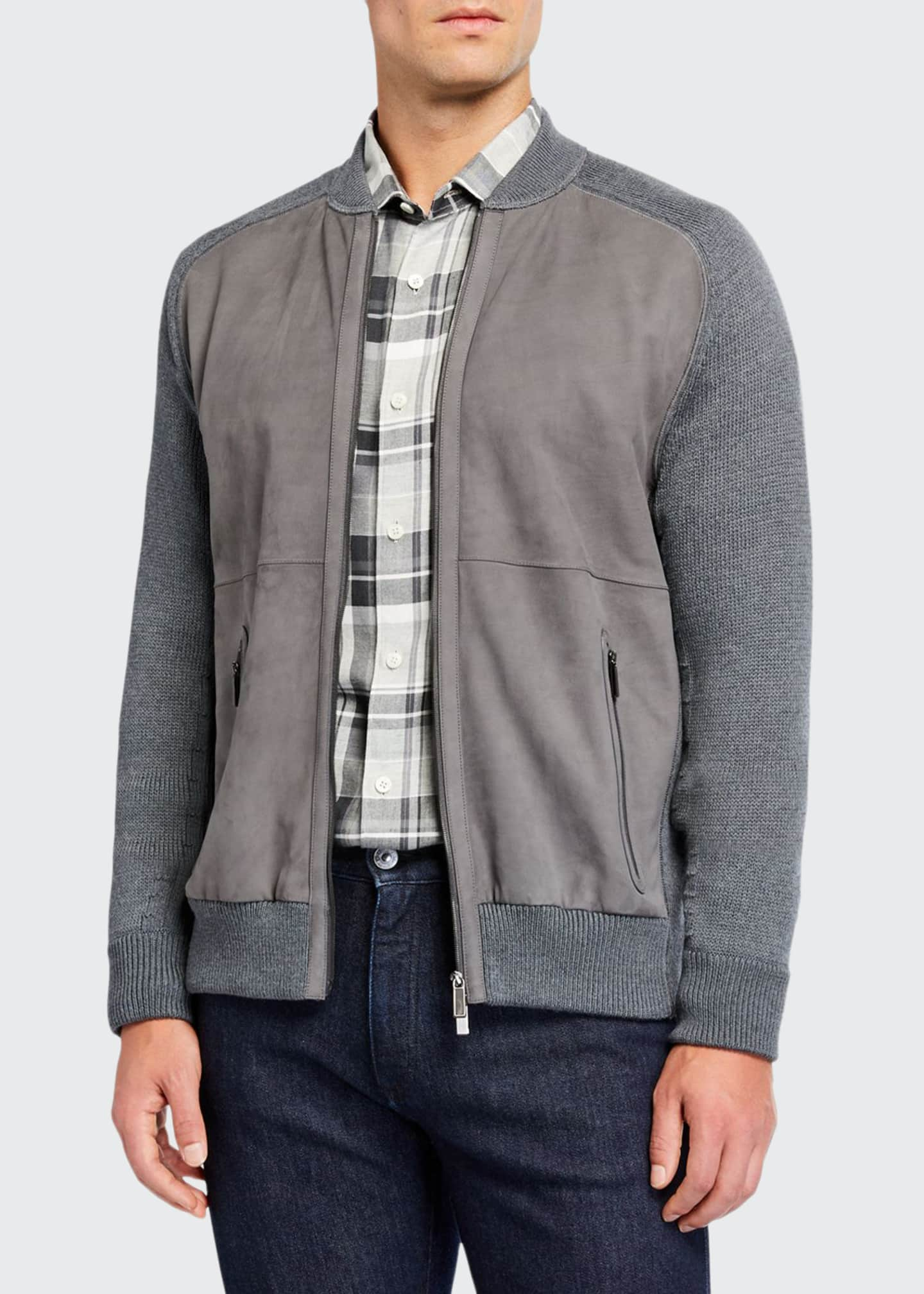 Ermenegildo Zegna Men's High-Performance Leather/Wool Zip Sweater