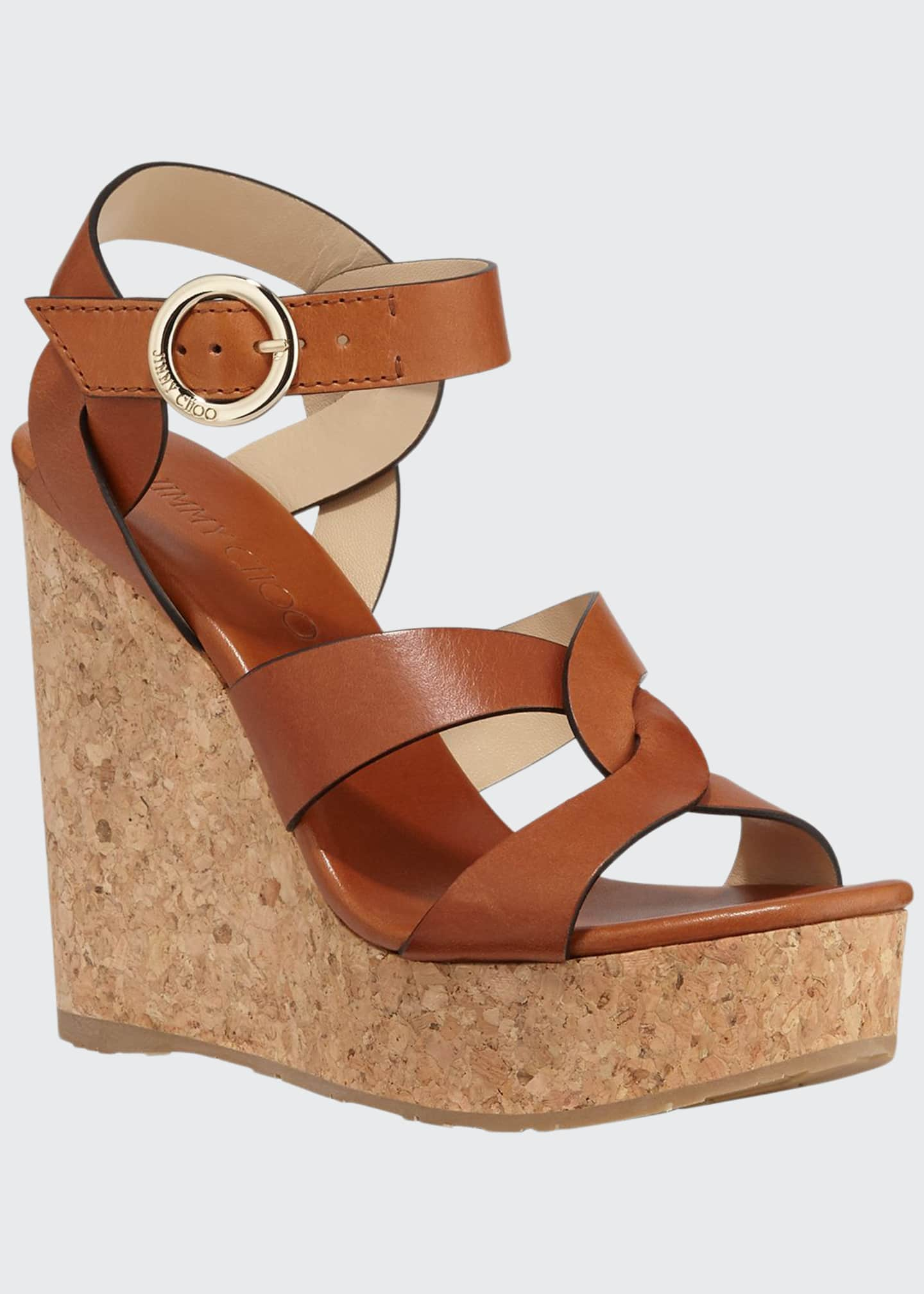 Image 1 of 3: Aleili Leather Cork Wedge Sandals