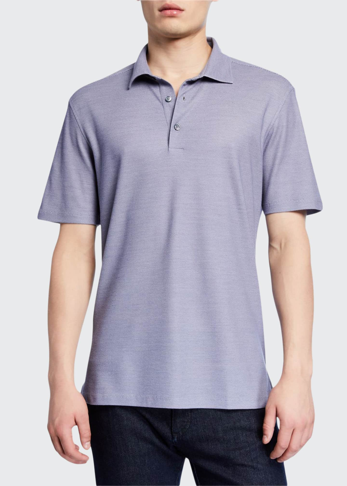 Ermenegildo Zegna Men's Birdseye-Knit Polo Shirt
