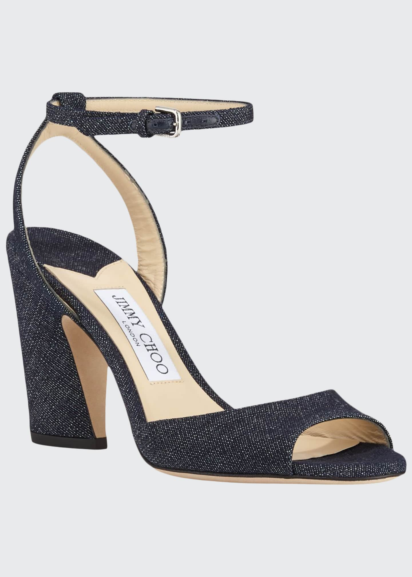 Jimmy Choo Miranda Open-Toe Denim Pumps