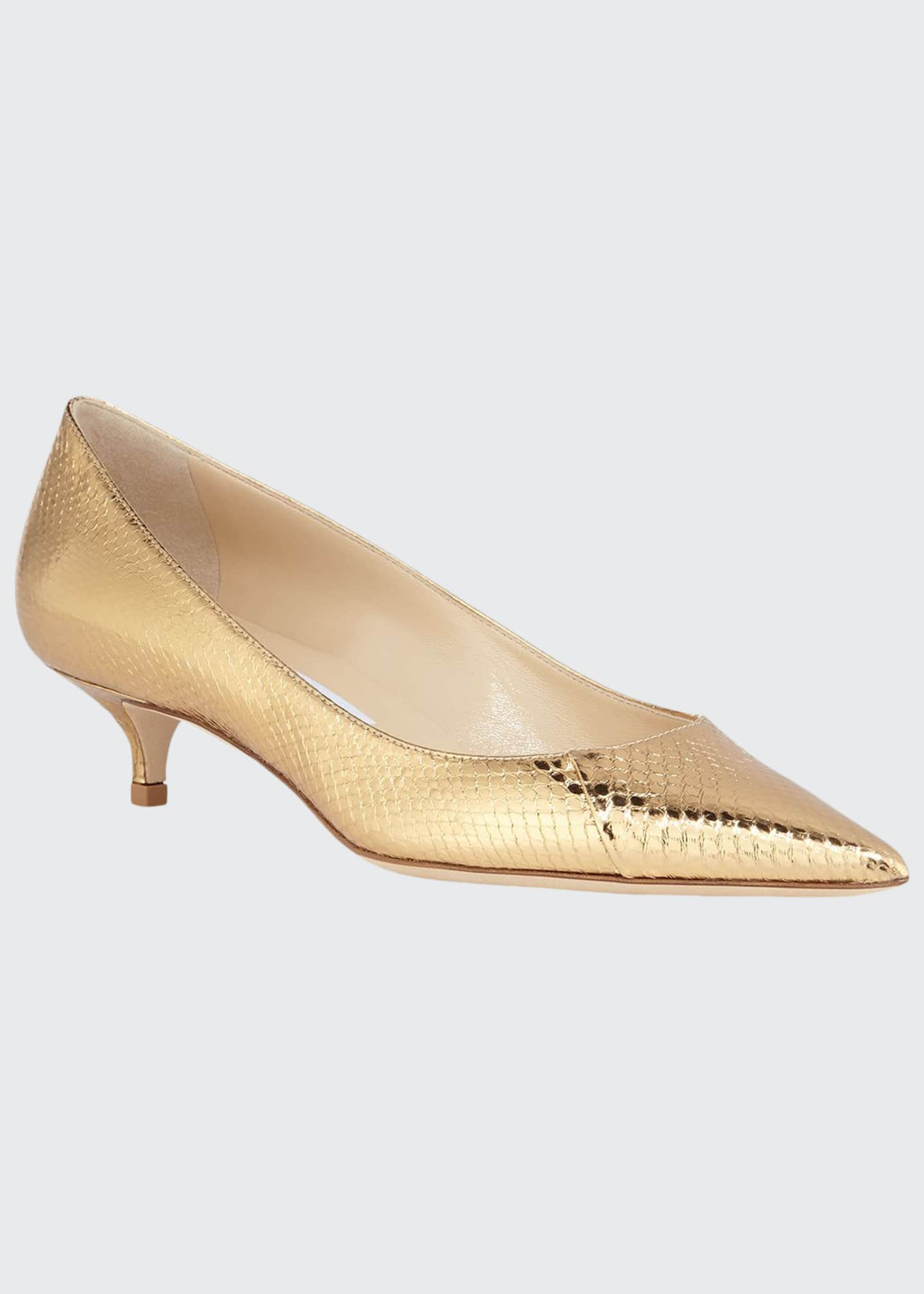 Image 1 of 3: Amelia Snake-Embossed Metallic Pointed Pumps