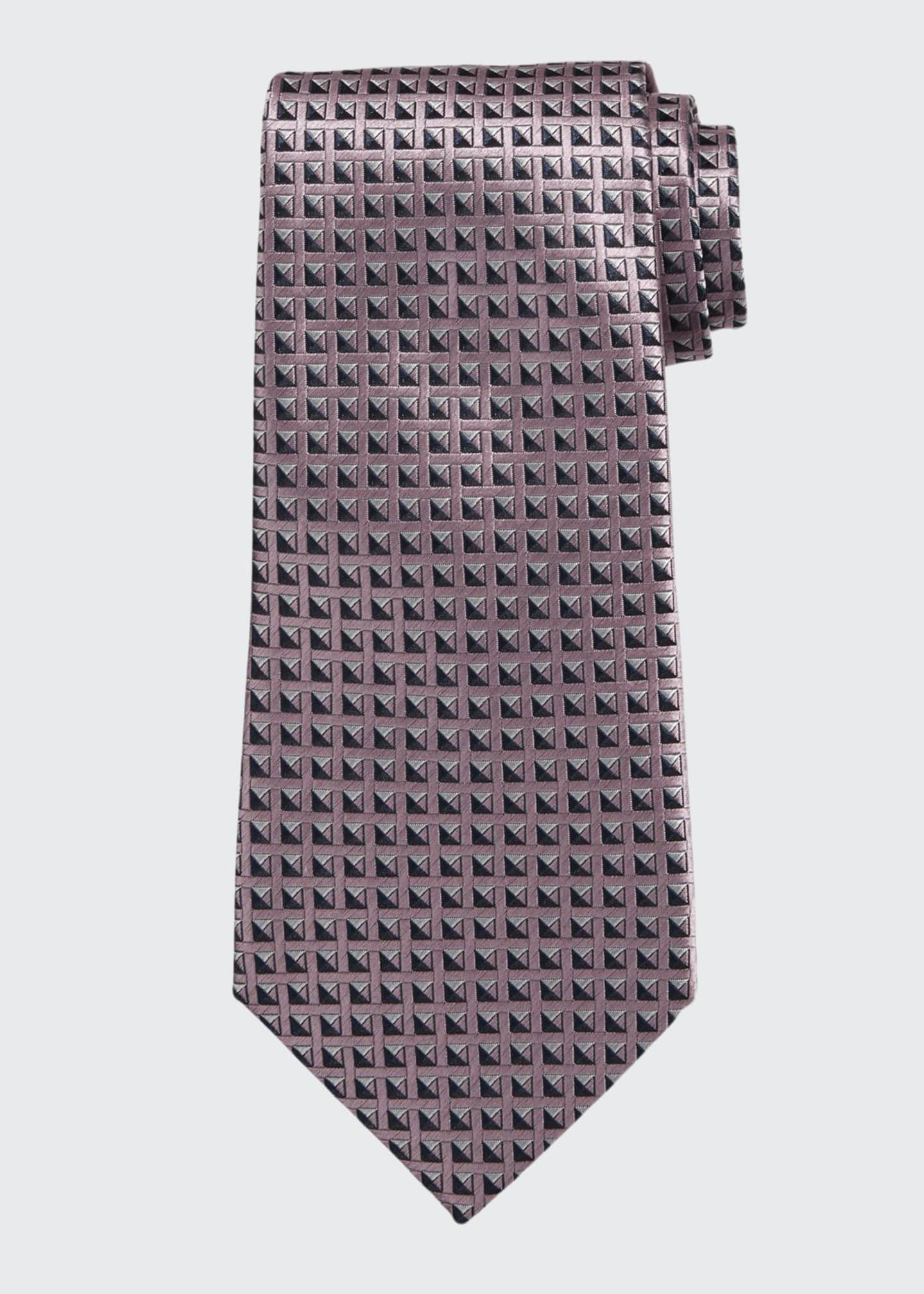 Image 1 of 1: Shaded Squares Silk Tie, Pink
