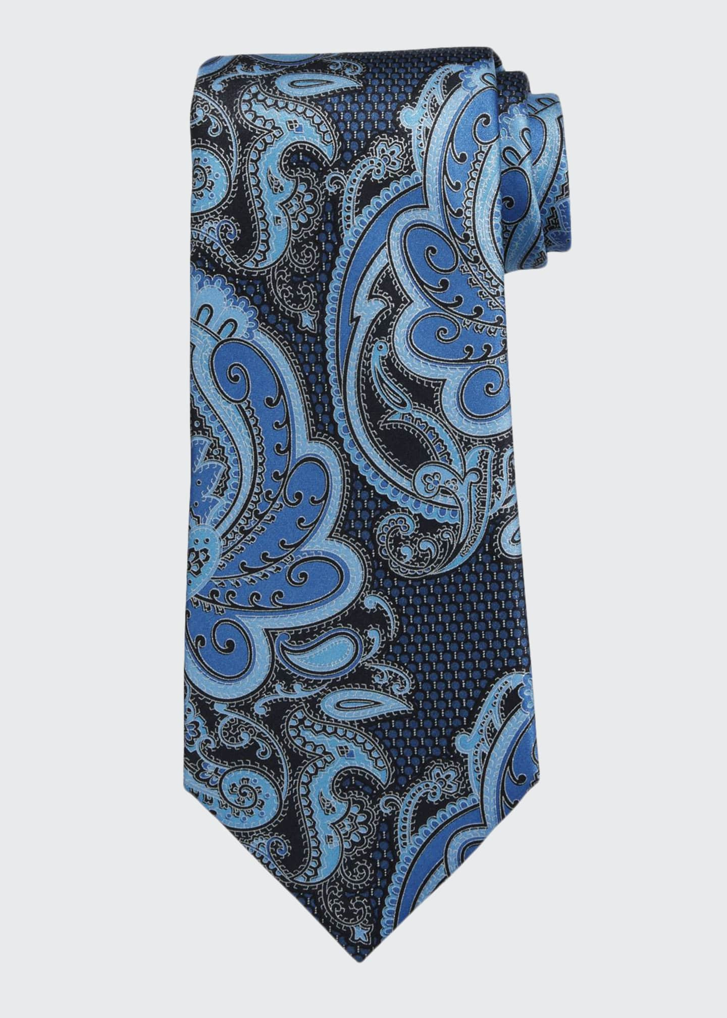 Ermenegildo Zegna Exploded Paisley Silk Tie, Navy/Blue