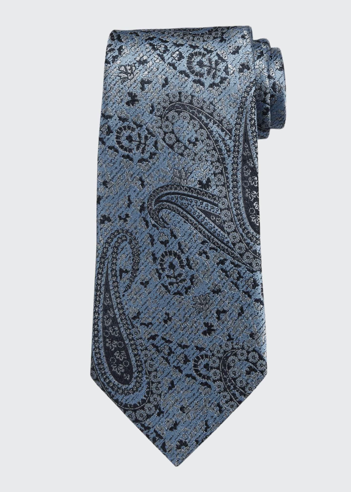 Ermenegildo Zegna Woven Paisley Silk Tie, Blue