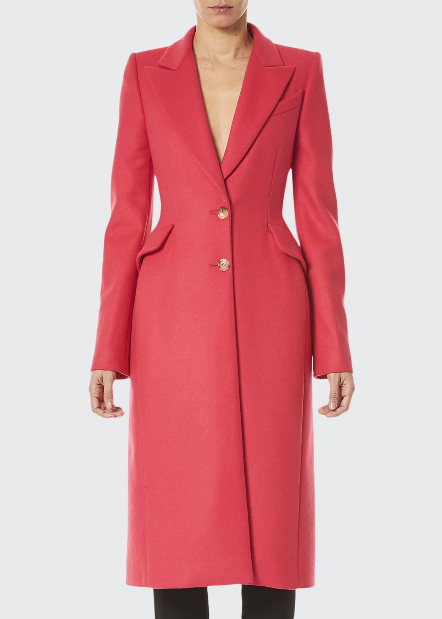 Carolina Herrera Long Wool Peak-Lapel Coat