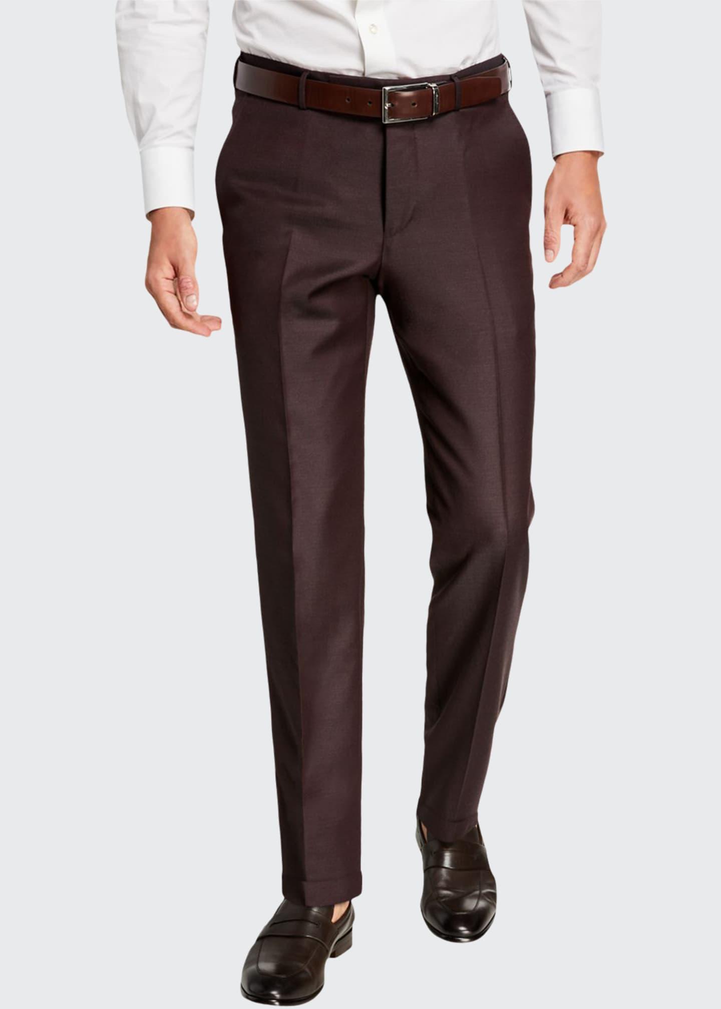 Ermenegildo Zegna Men's Achillfarm Twill Flat-Front Trousers