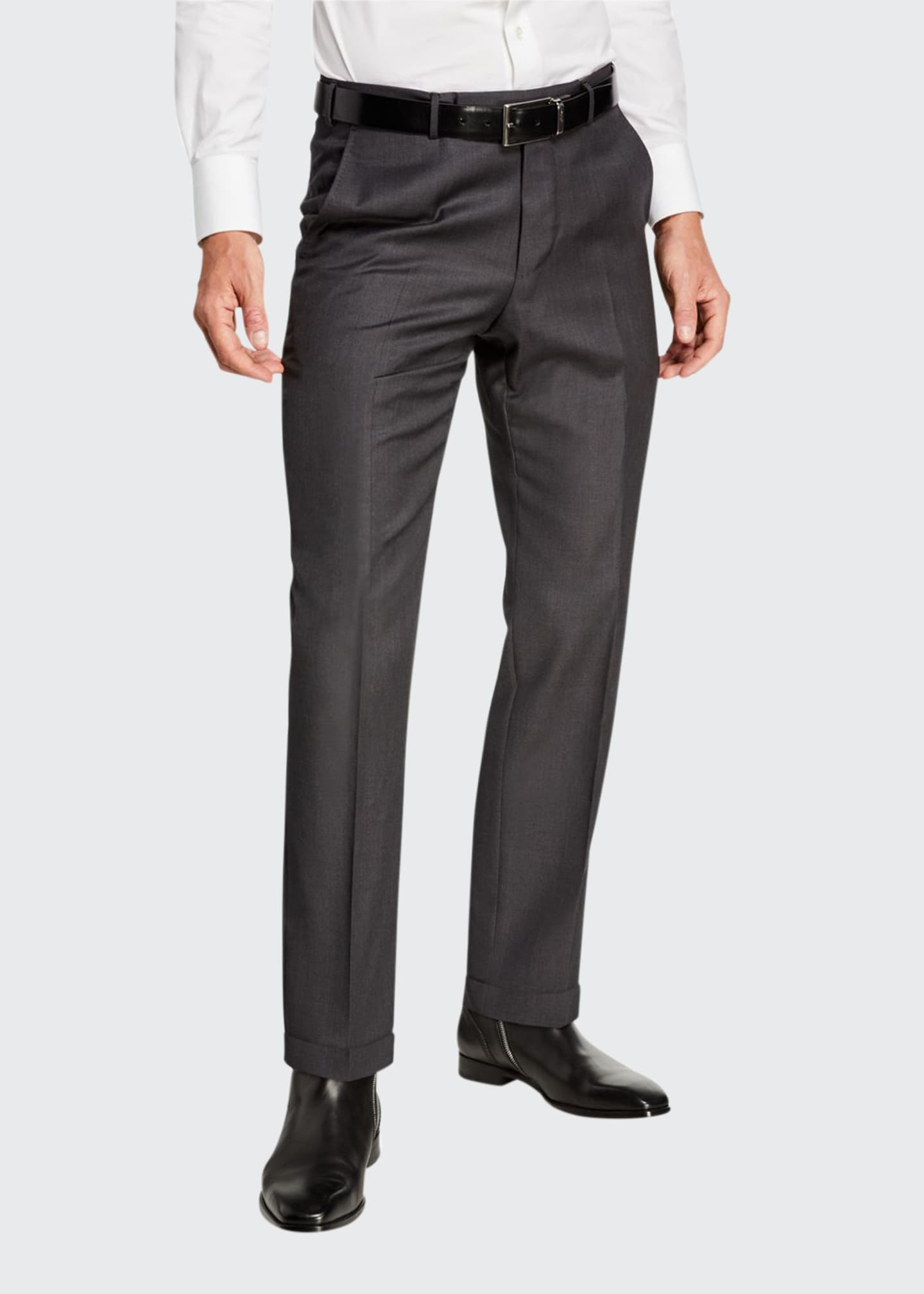 Ermenegildo Zegna Men's Achillfarm Wool/Silk Twill Trousers