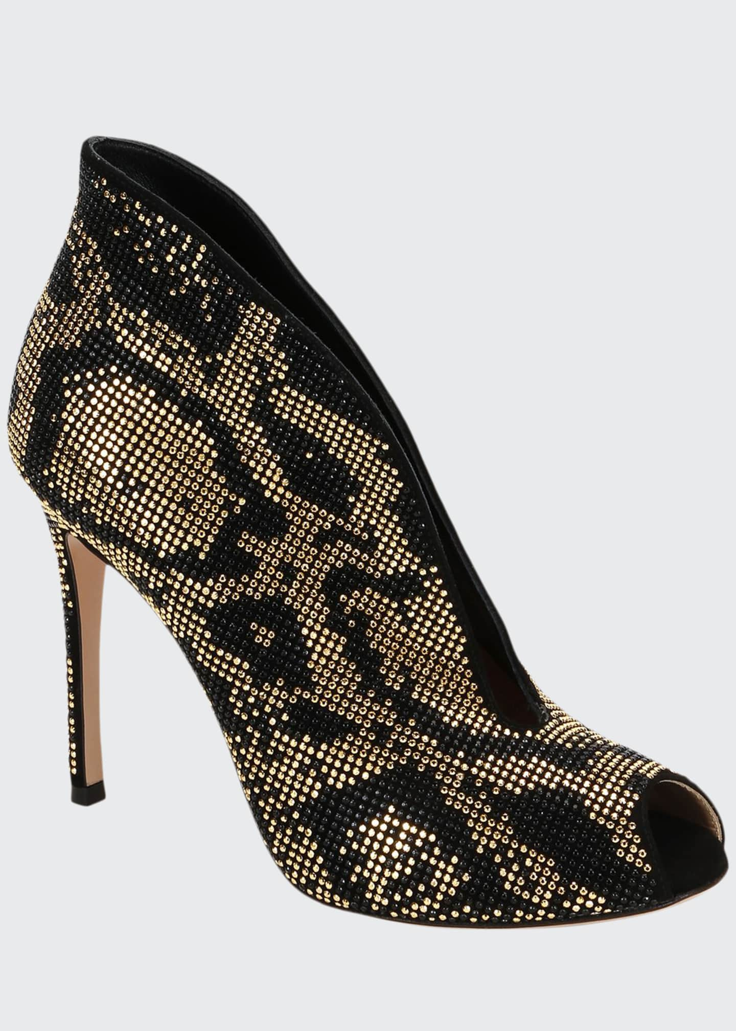 Image 1 of 3: Leopard Beaded V-Neck Booties