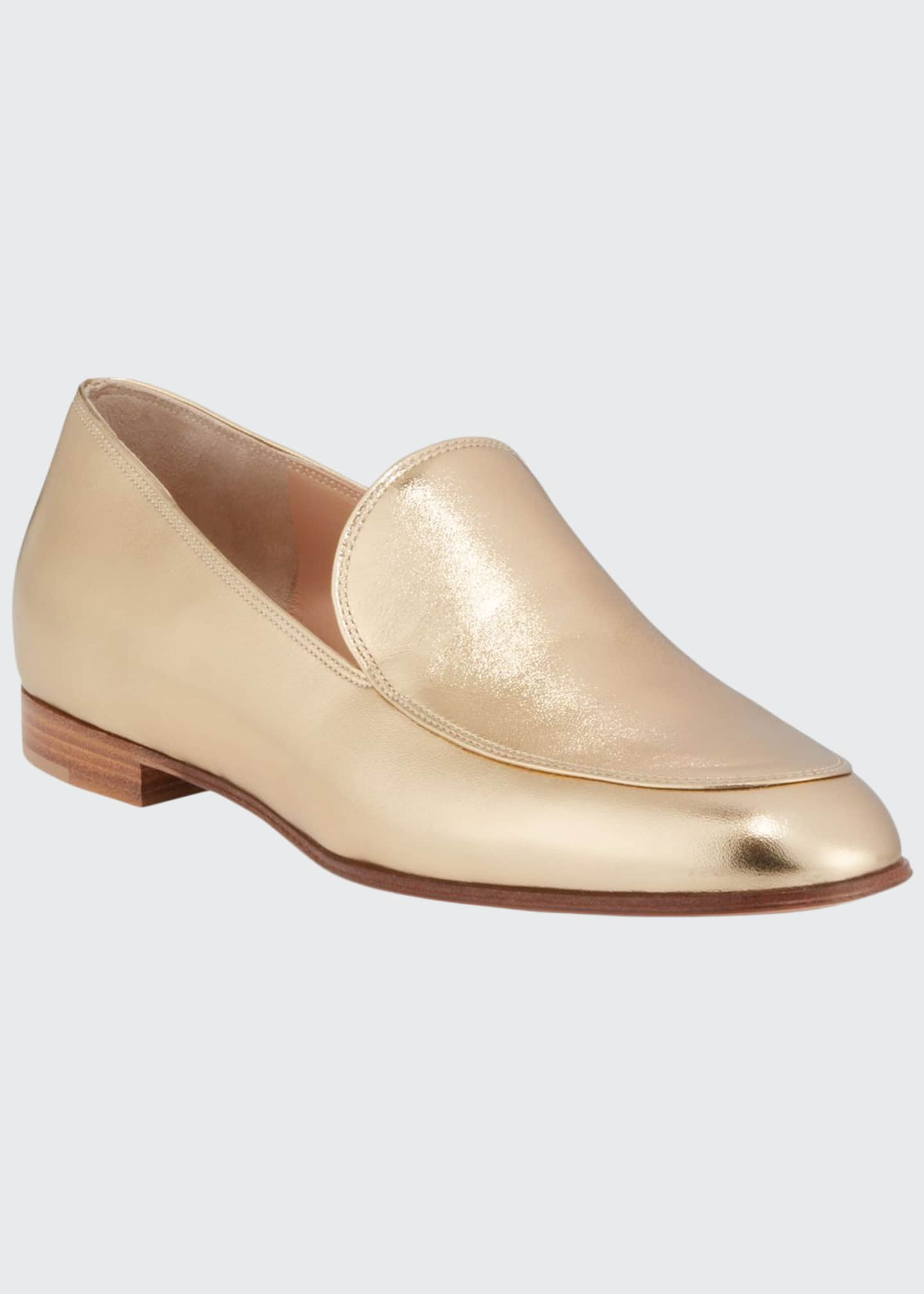 Image 1 of 3: Metallic Leather Flat Loafers