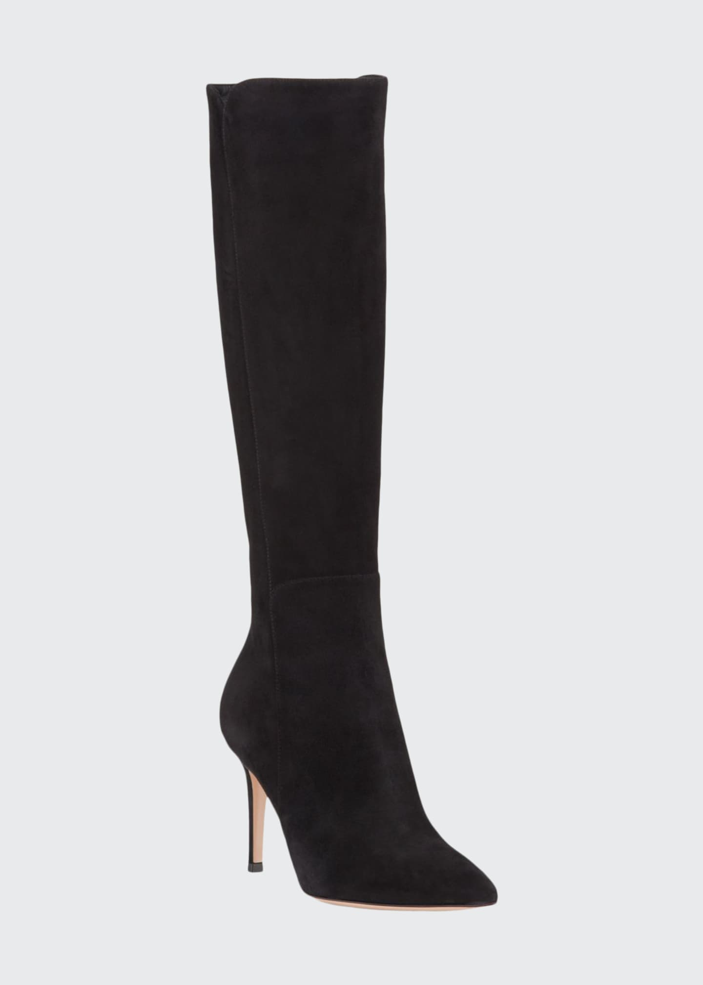Gianvito Rossi Suede Pointed-Toe Tall Boots
