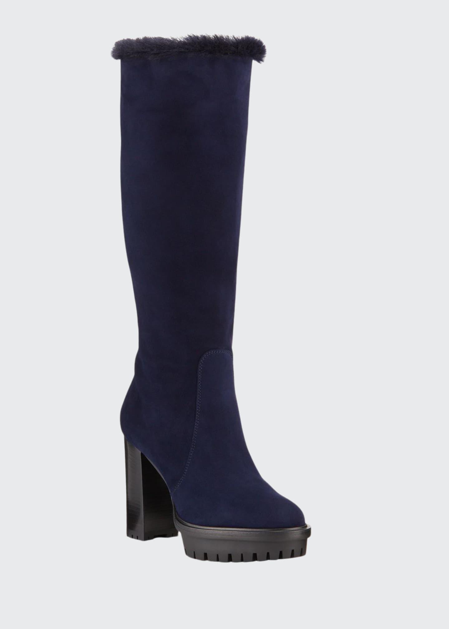 Gianvito Rossi Suede Block-Heel Lined Knee Boots