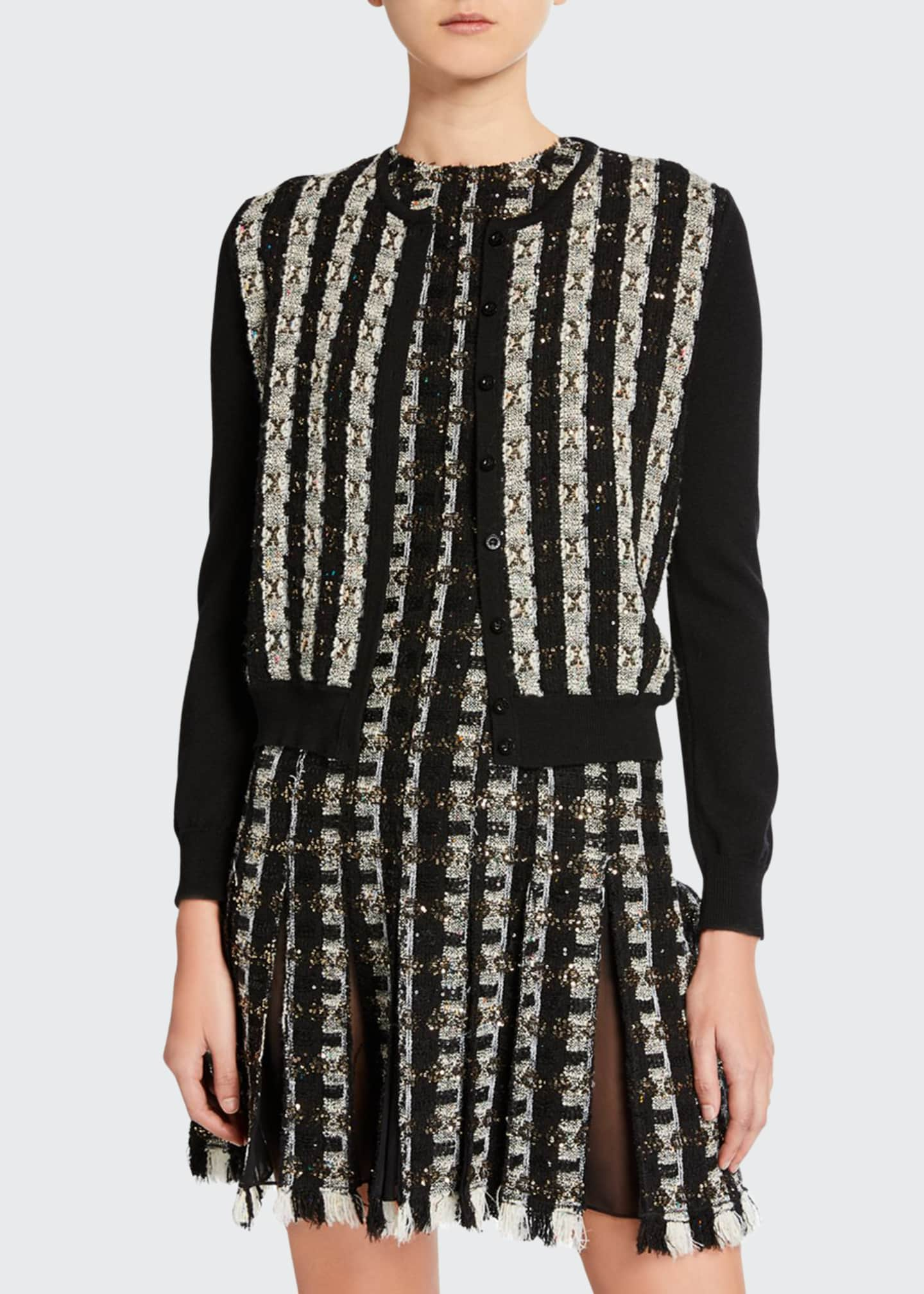 Oscar de la Renta Tweed-Striped Button-Front Cardigan