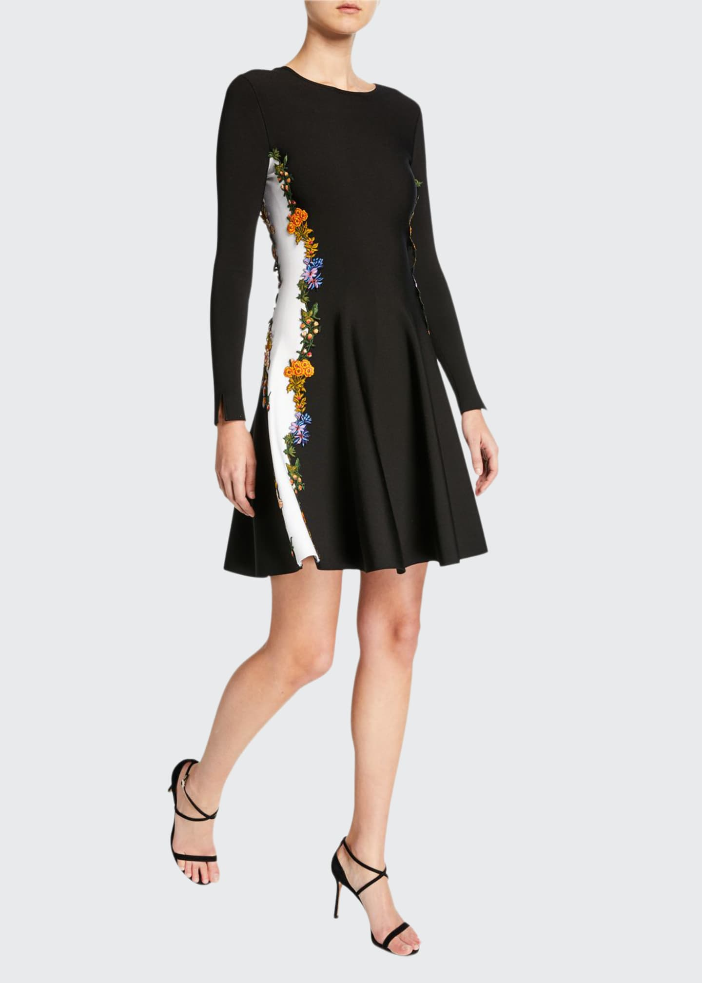 Oscar de la Renta Long-Sleeve Embroidered Side-Striped Dress