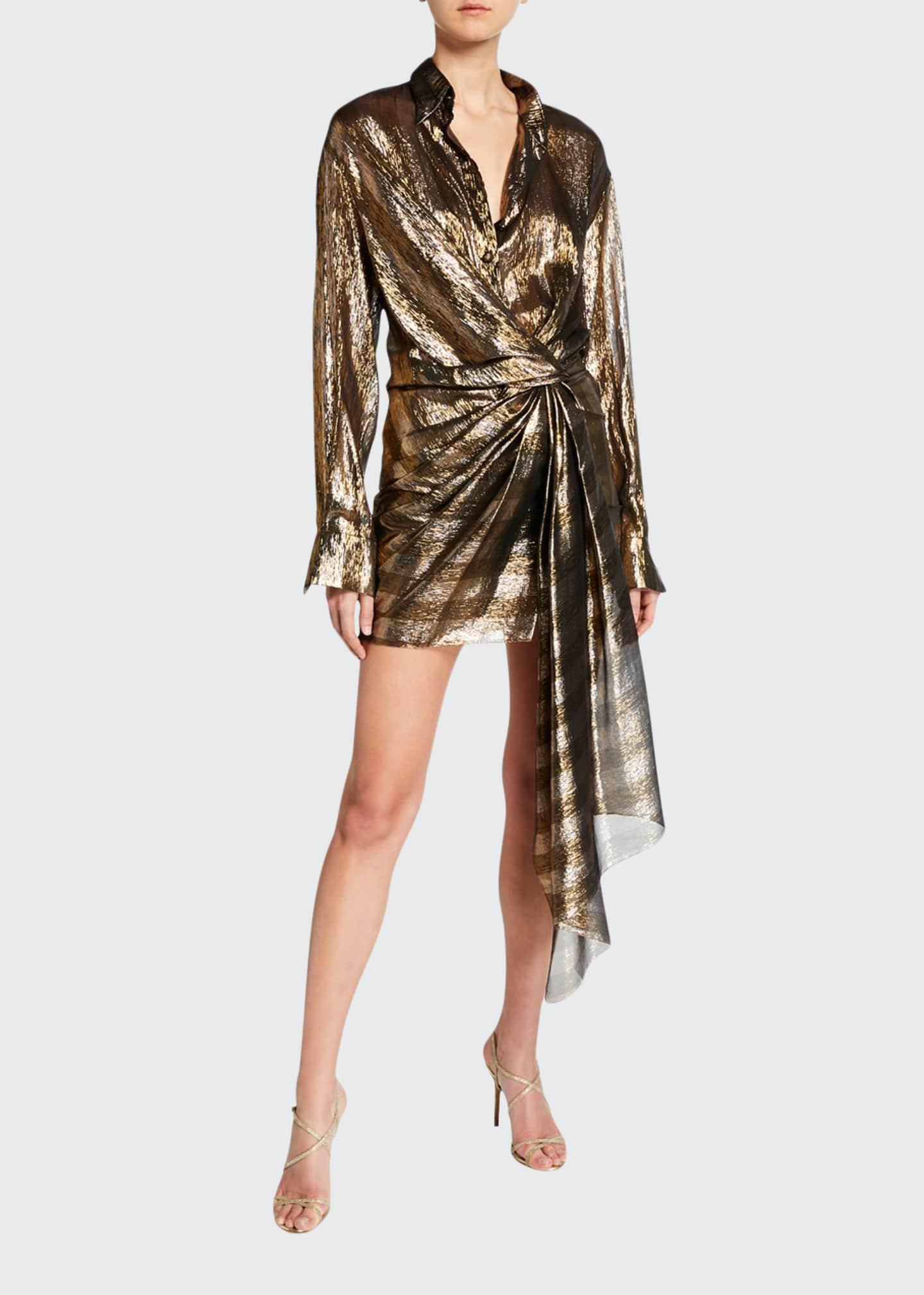 Oscar de la Renta Metallic-Striped Shirtdress