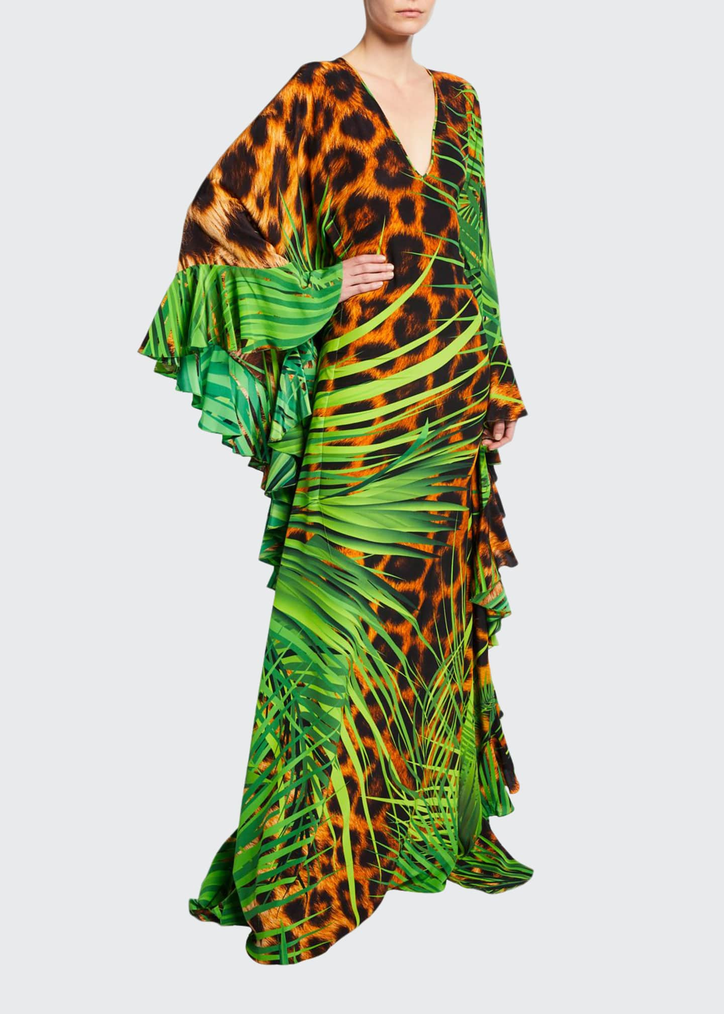Naeem Khan Jungle Animal Print V-Neck Caftan